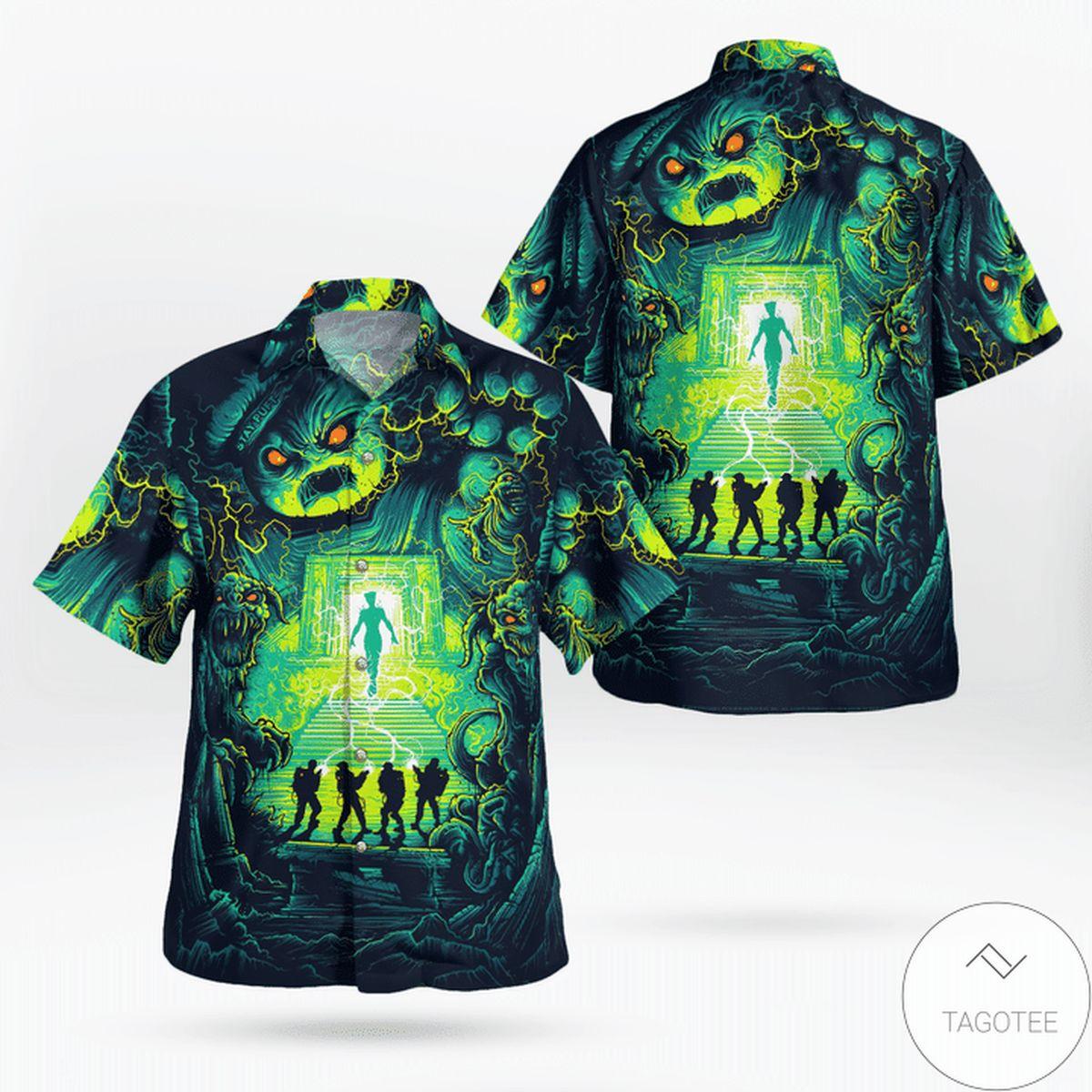 Ghostbusters Navy Green Hawaiian Shirt