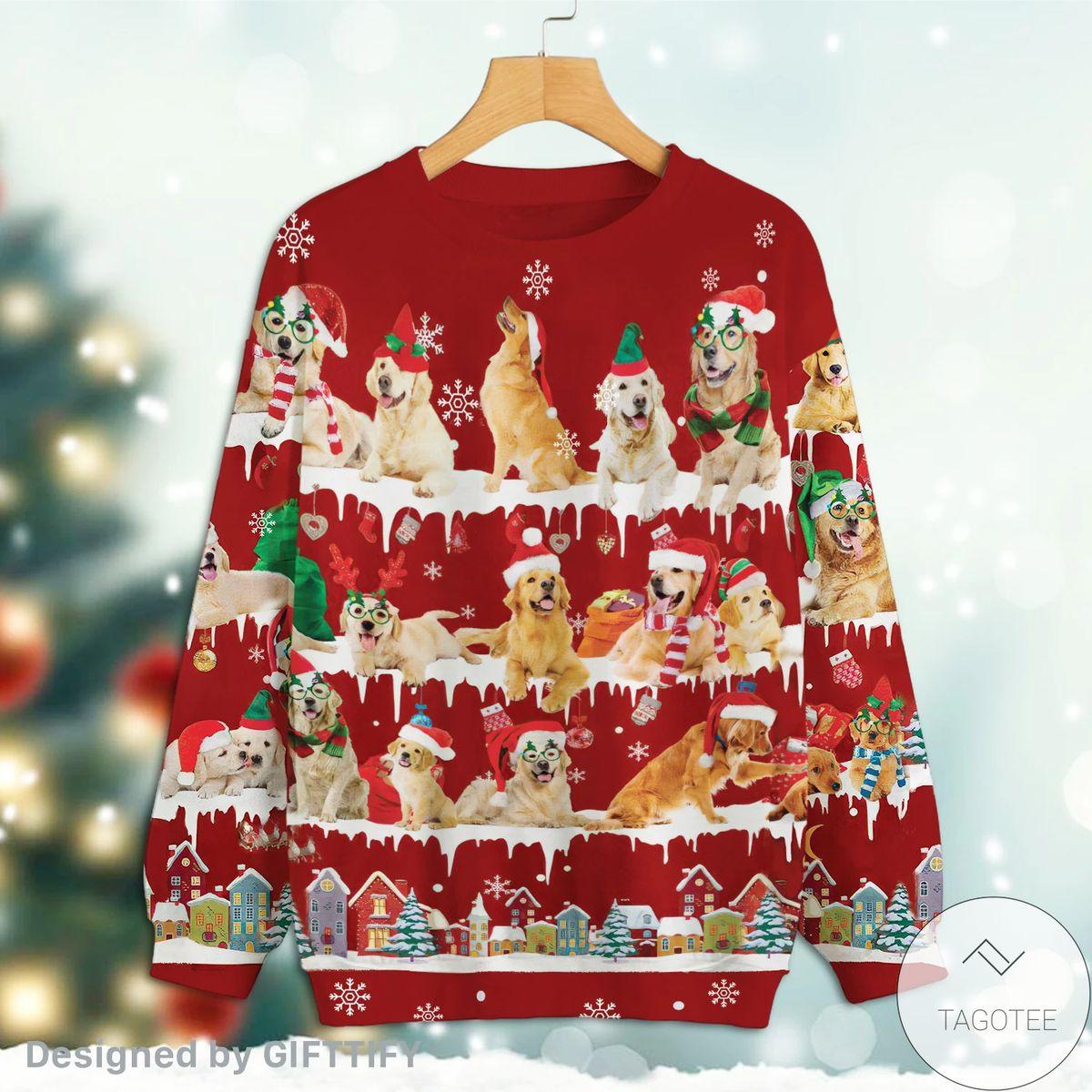 3D Golden Retriever Snow Christmas Premium Sweatshirt