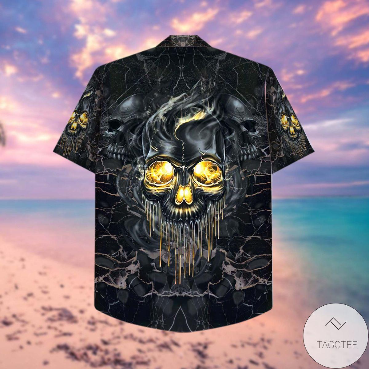 Drop Shipping Golden Smoke Skull Hawaiian Shirt