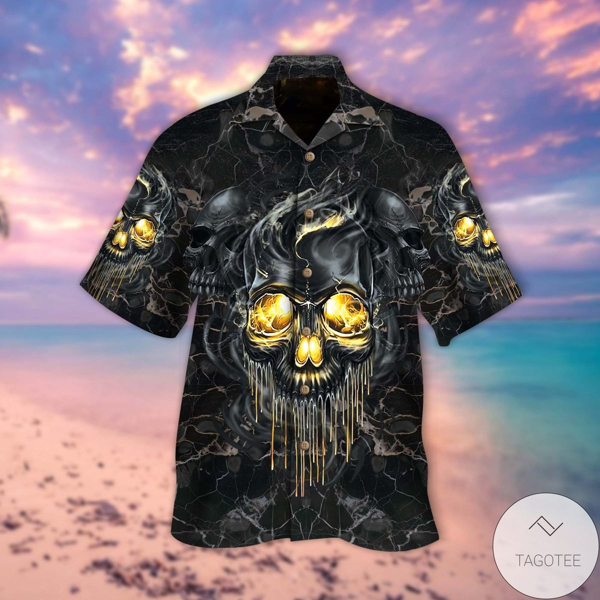 Present Golden Smoke Skull Hawaiian Shirt