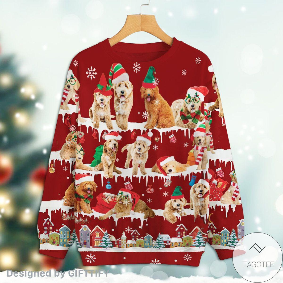 US Shop Goldendoodle Snow Christmas Premium Sweatshirt
