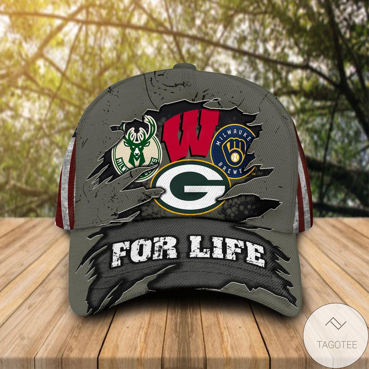 Nice Green Bay Packers Milwaukee Bucks For Life Cap