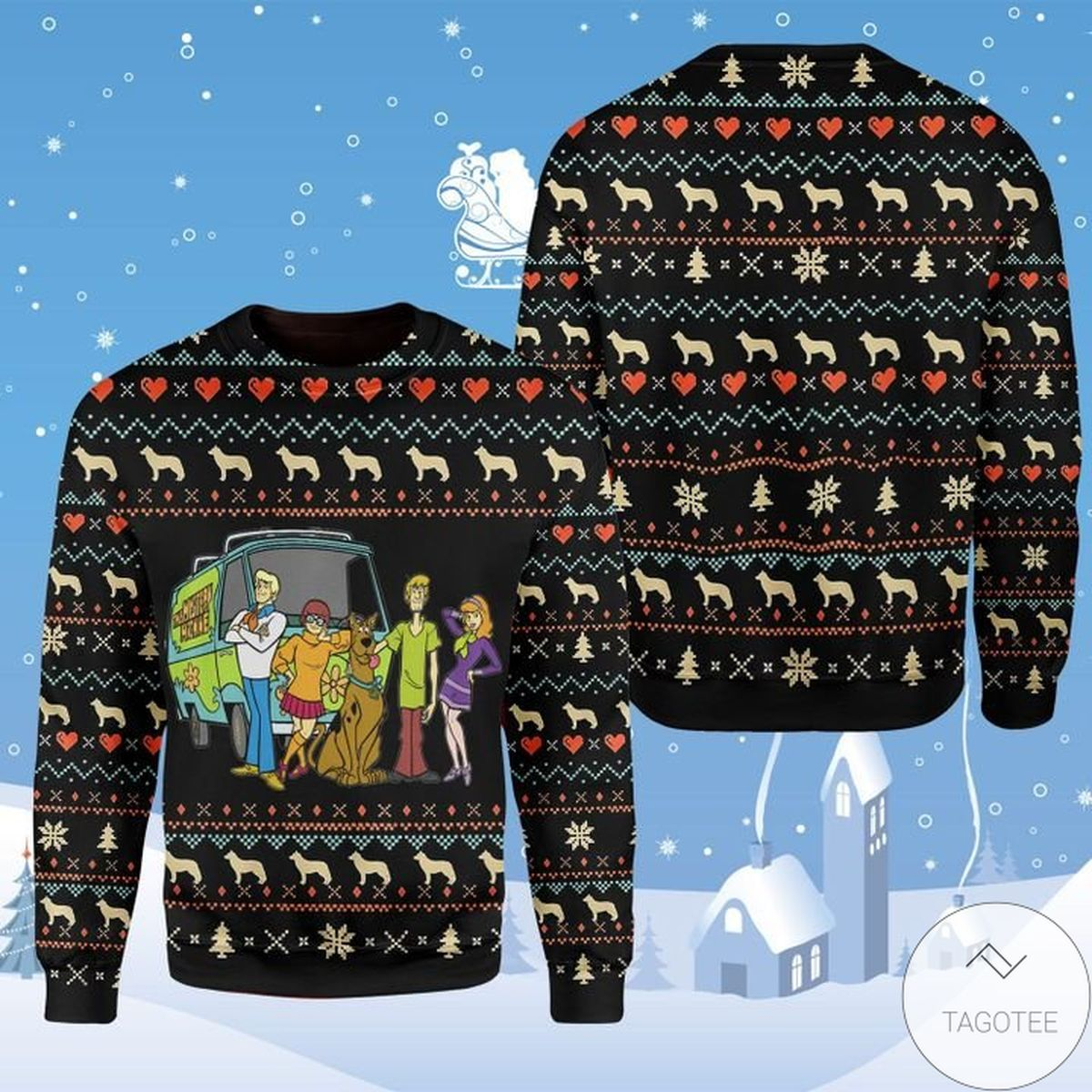 Popular Happy Dog Scooby Doo Cartoon Characters Ugly Christmas Sweater