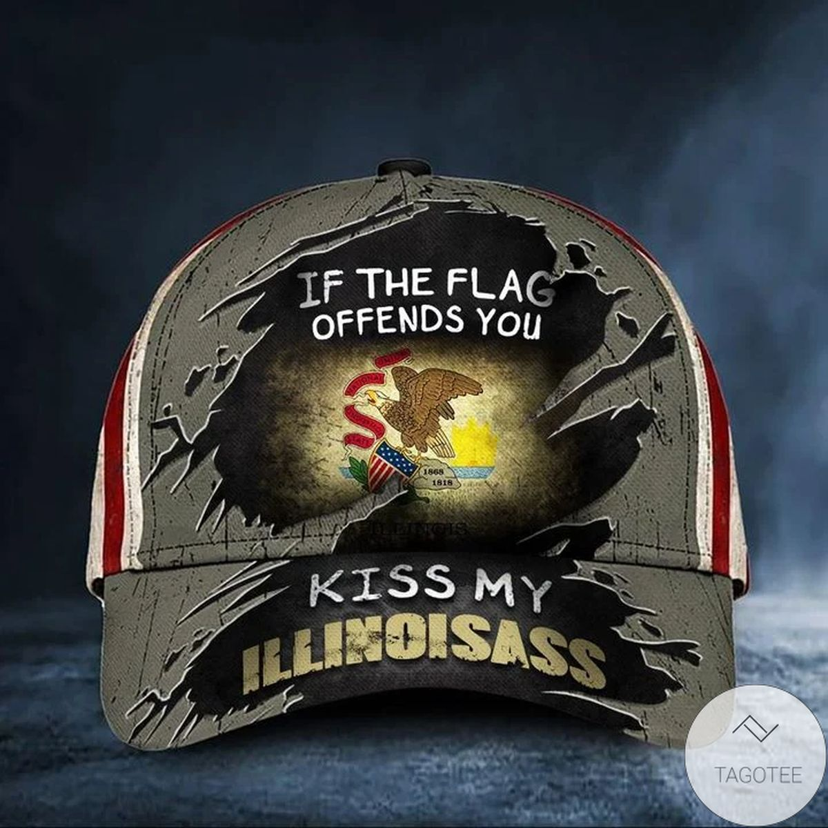 If The Flag Offends You Kiss My Illinoisass Cap USA Flag Vintage Hat Honor Illinois State