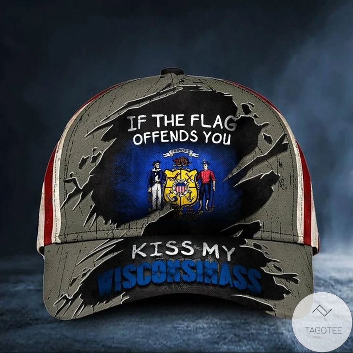 If The Flag Offends You Kiss My Wisconsinass Cap USA Flag Hat Funny Patriotic Wisconsin Merch