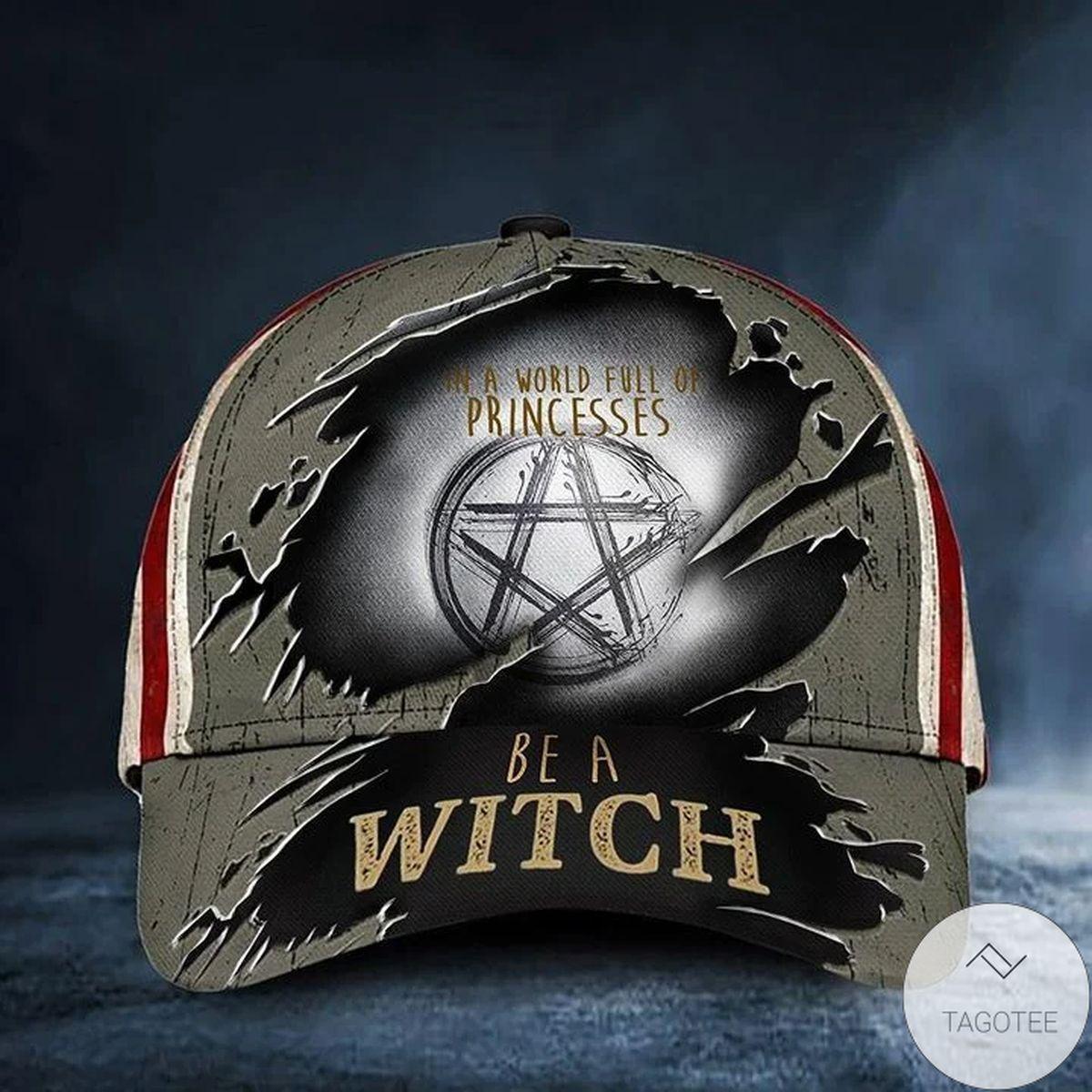 In A World Full Of Princess Be A Witch Halloween Baseball Cap USA Flag Halloween Merch Gift