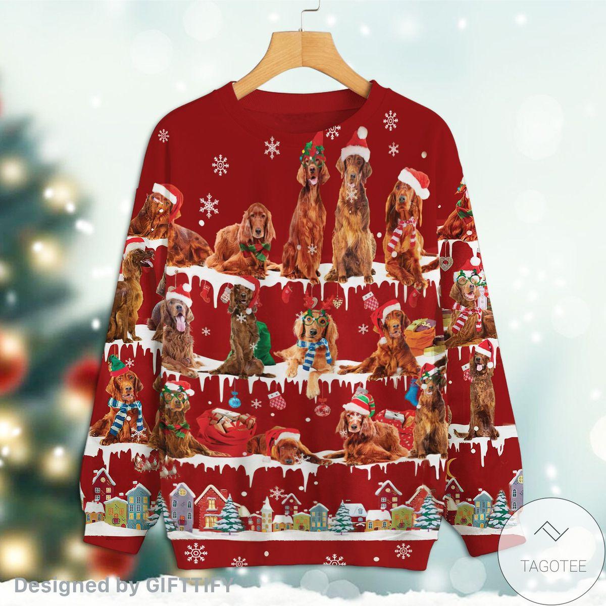 Best Shop Irish Setter Snow Christmas Premium Sweatshirt