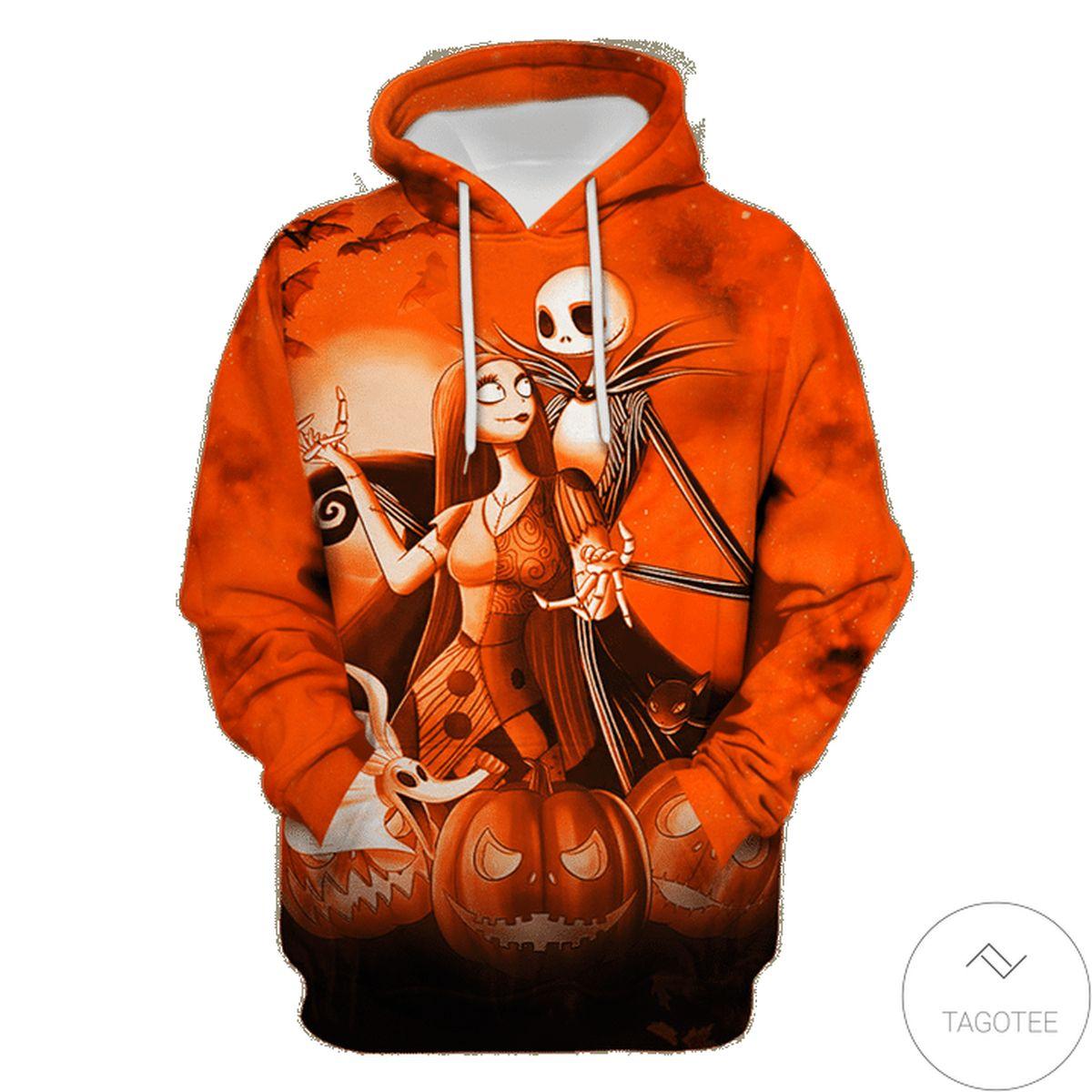 Jack Skellington And Sally Halloween Night 3d Hoodie