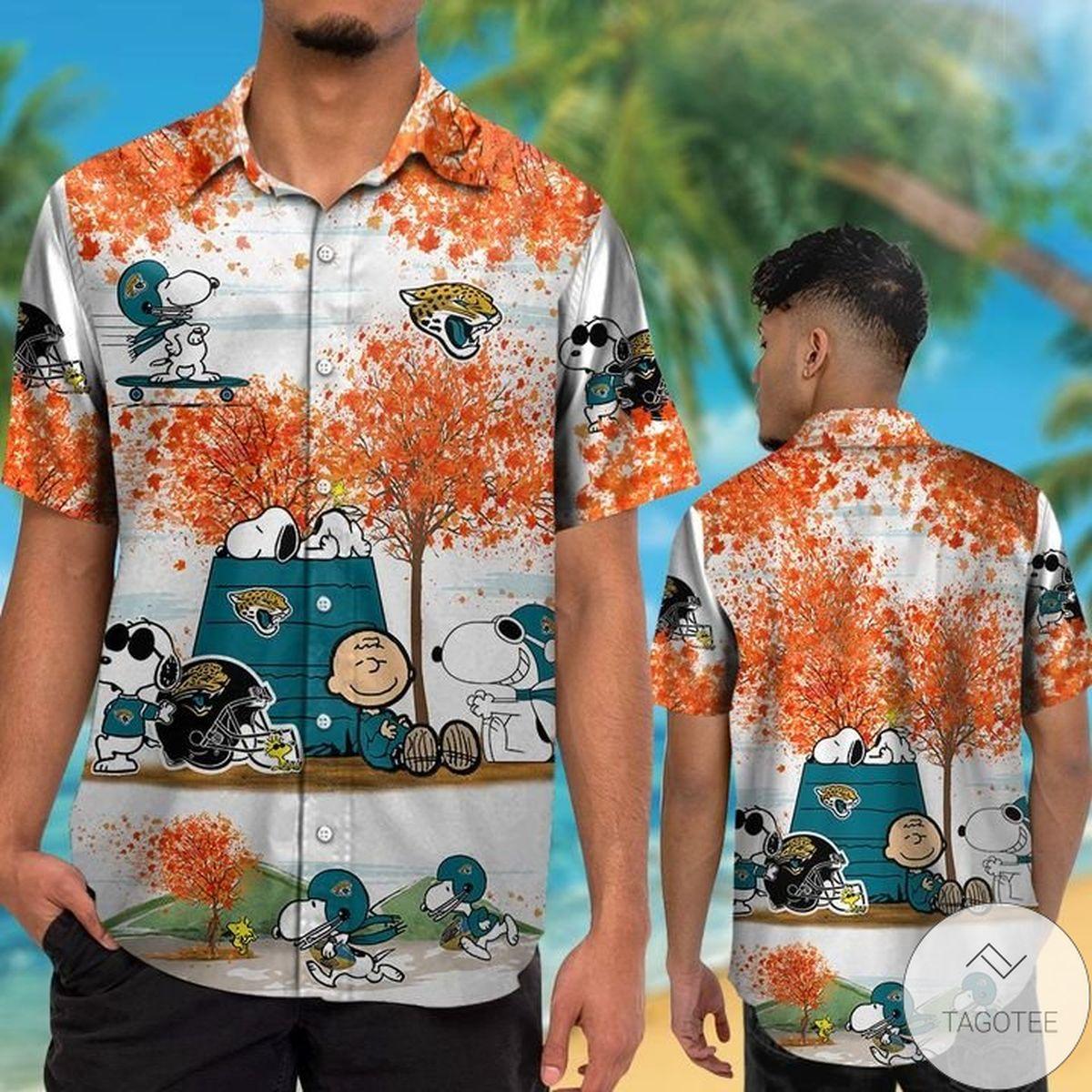 Hot Deal Jacksonville Jaguars Snoopy Autumn Hawaiian Shirt