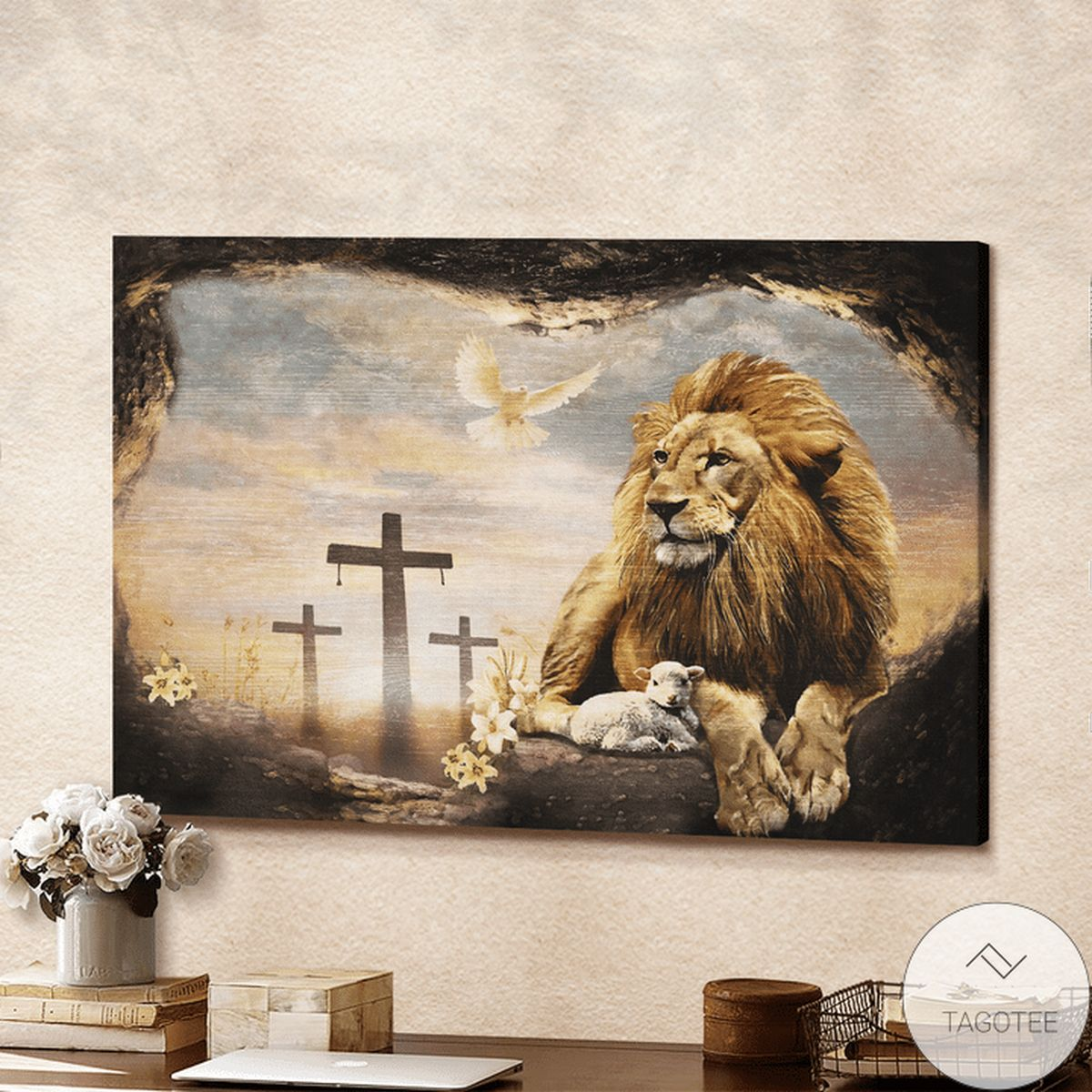 Official Jesus And Lion Dove Christian Canvas