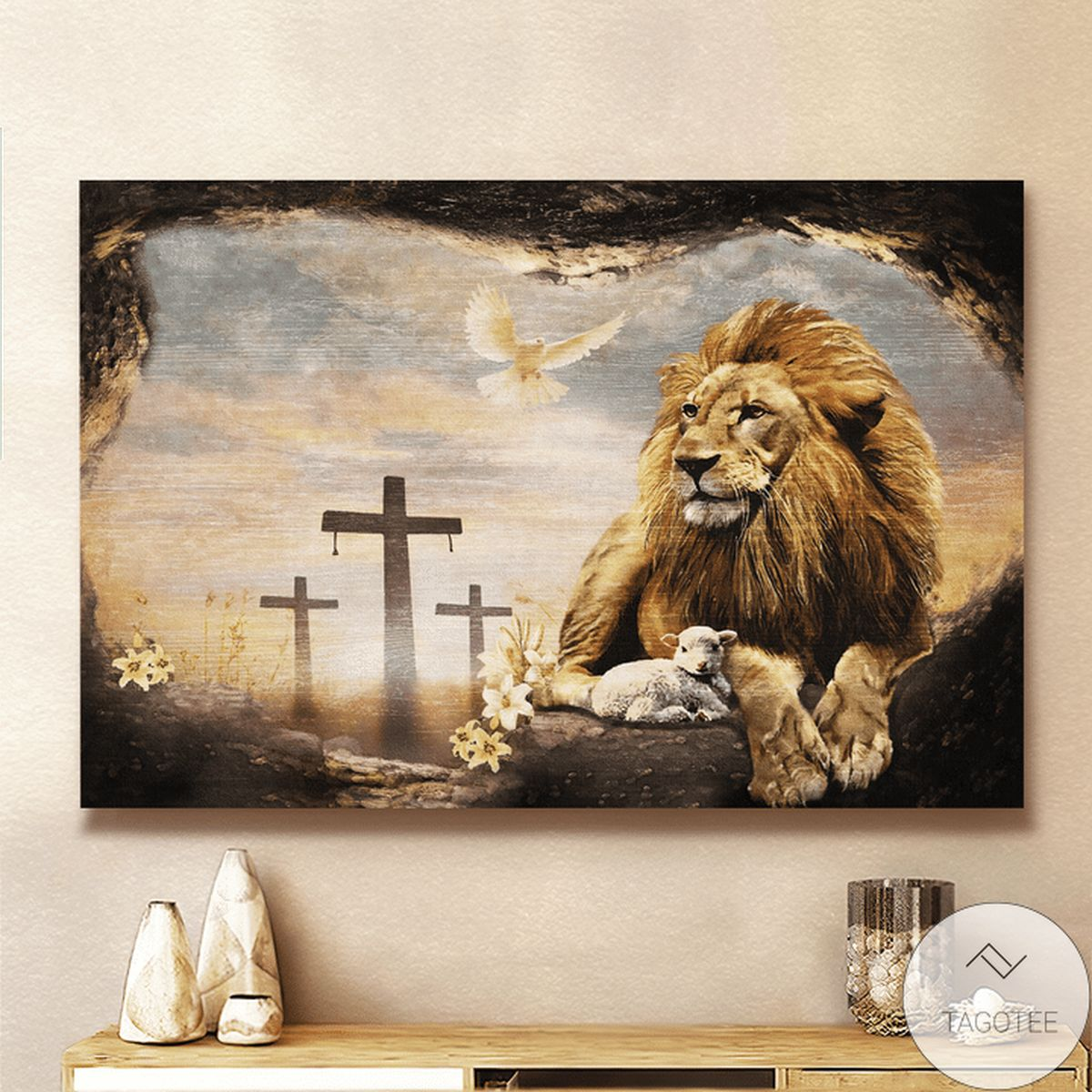 Free Jesus And Lion Dove Christian Canvas