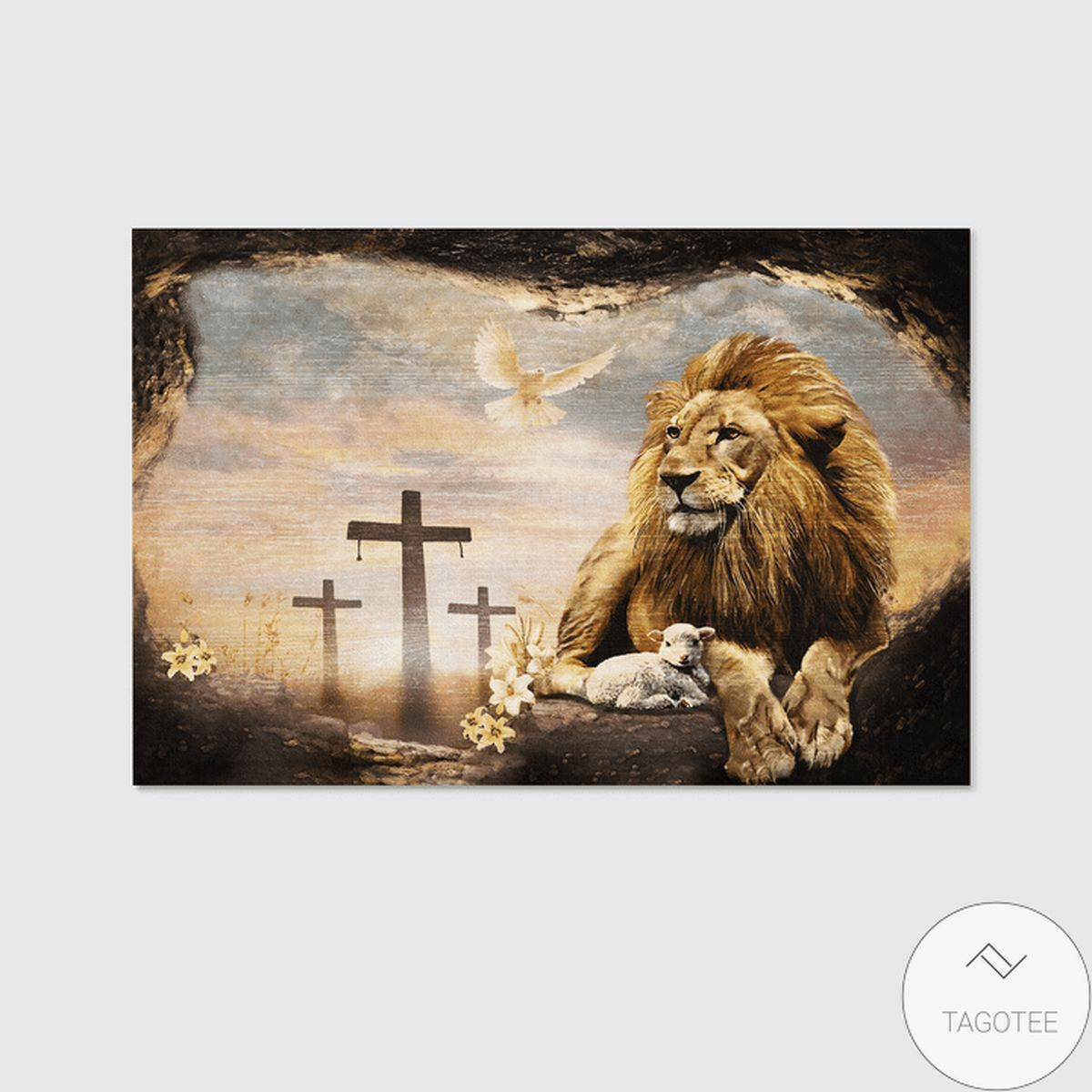 Best Gift Jesus And Lion Dove Christian Canvas