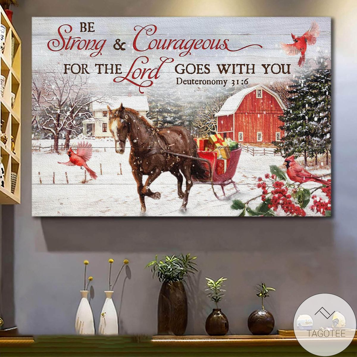 Jesus Horse Be Strong And Courageous Canvas