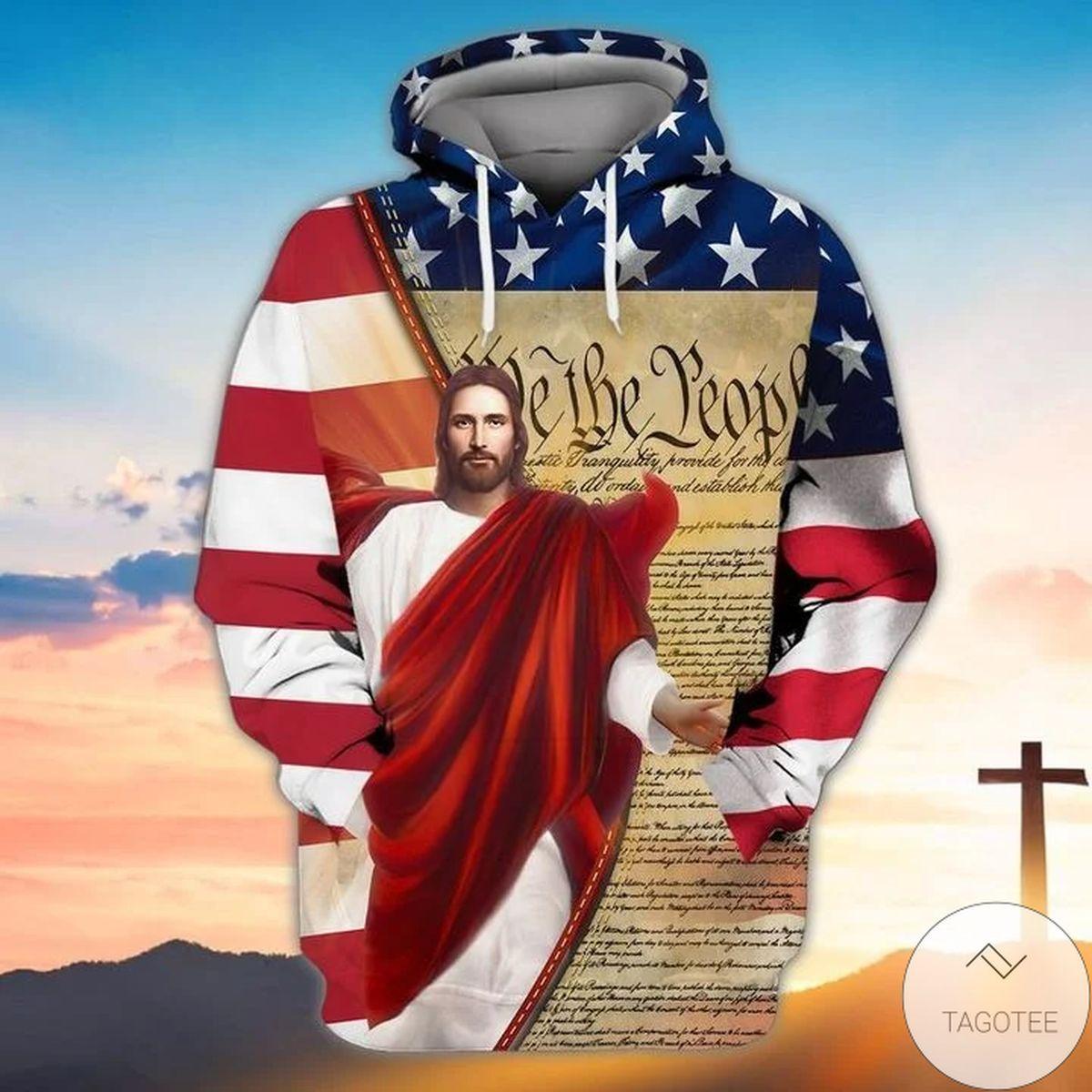 Jesus Us Flag We The People 3d Hoodie