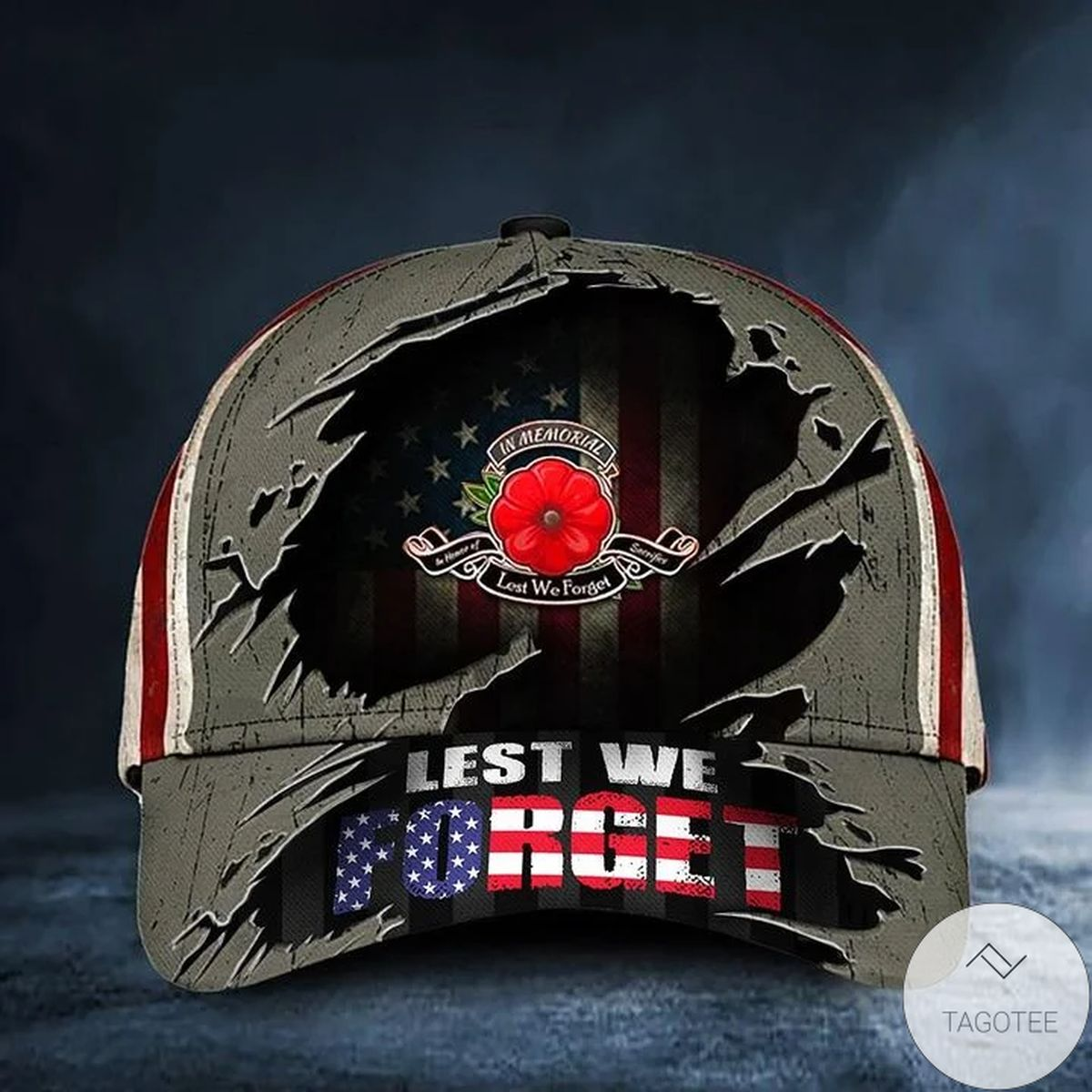Lest We Forget Poppy American Flag Hat Patriotic Honoring Remembrance Veteran Day Gift