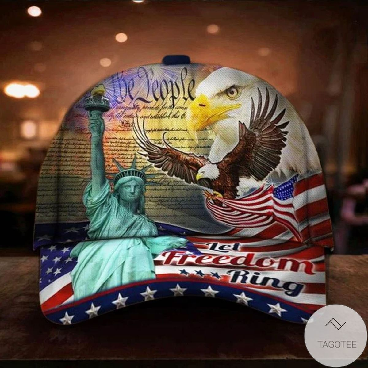 Liberties Eagle US Flag Let Freedom Ring Hat Patriotic Baseball Cap Honor Independence Day