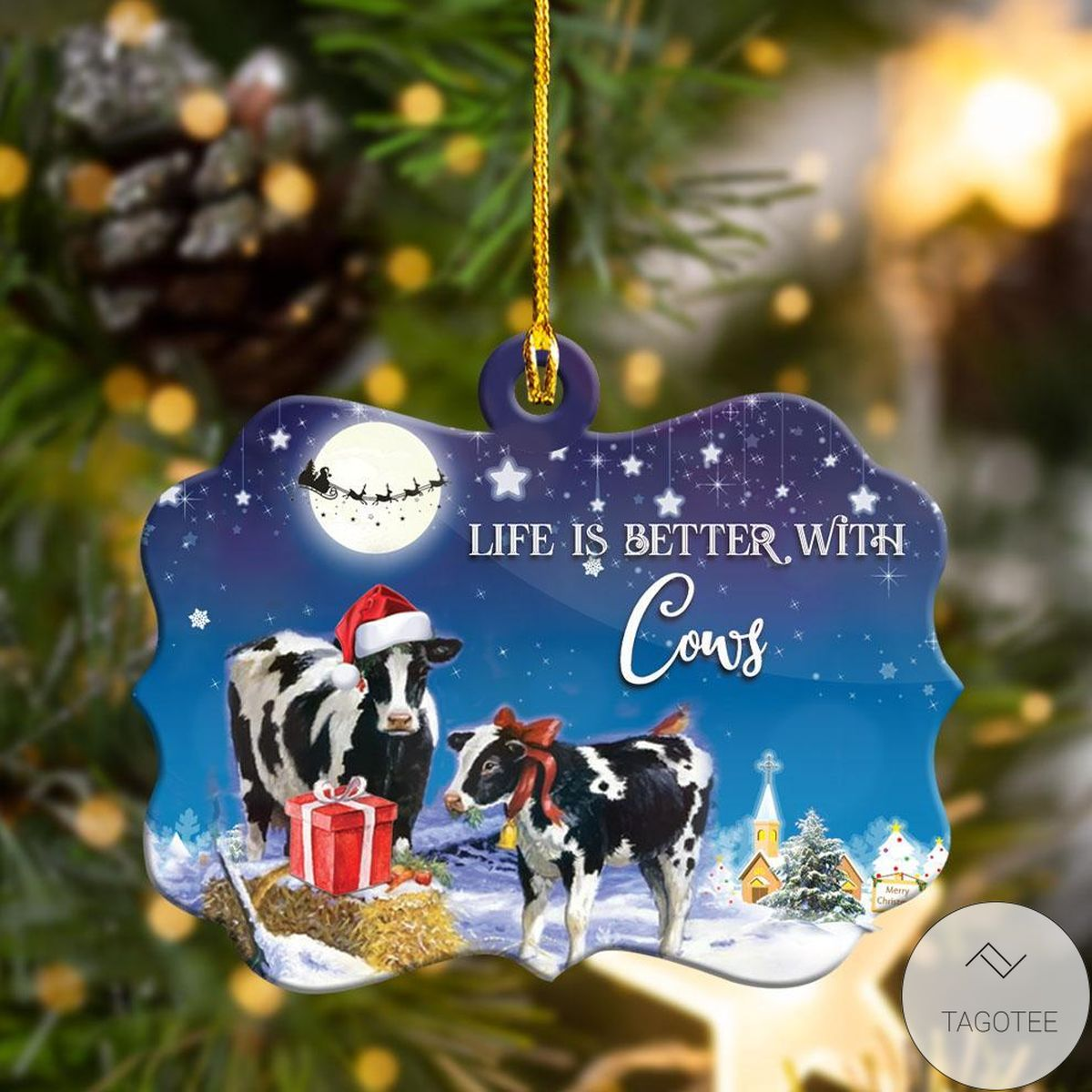 Beautiful Life Is Better With Cows Christmas Shape Ornament