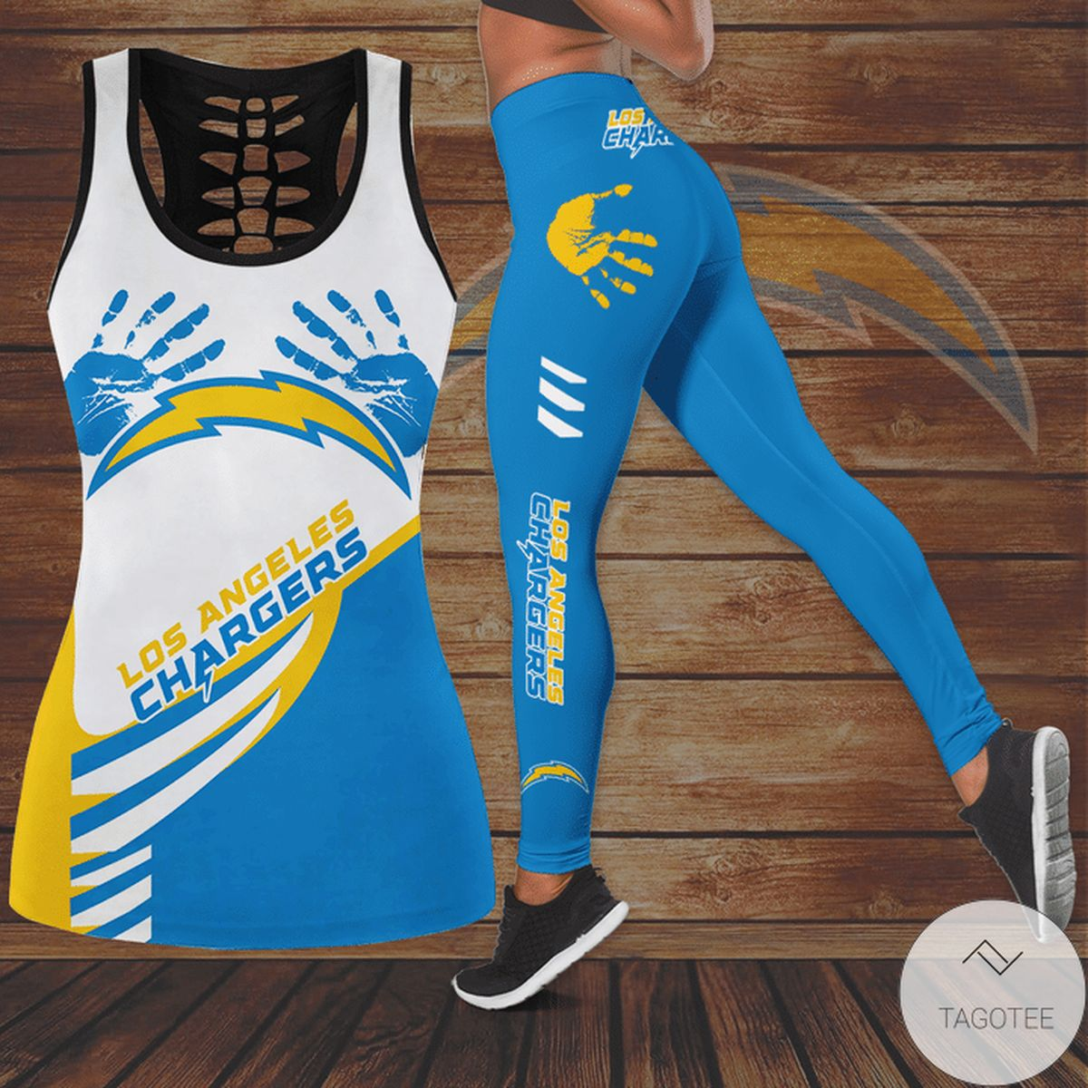 Print On Demand Los Angeles Chargers Hallow Tank Top And Leggings