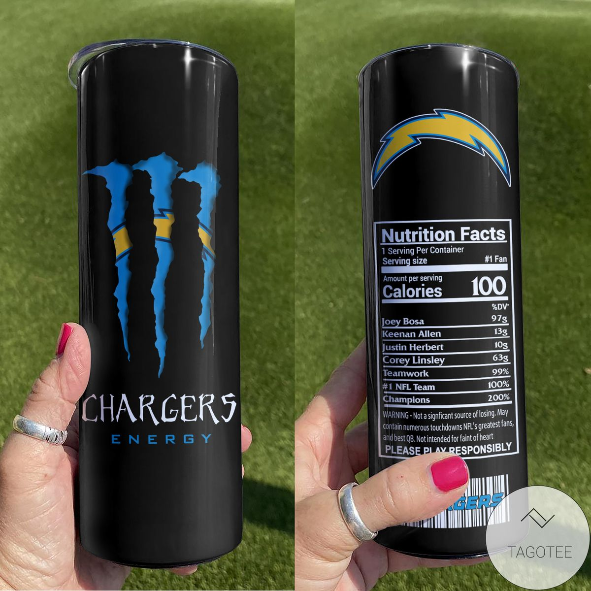 Gorgeous Los Angeles Chargers Monster Energy Skinny Tumbler