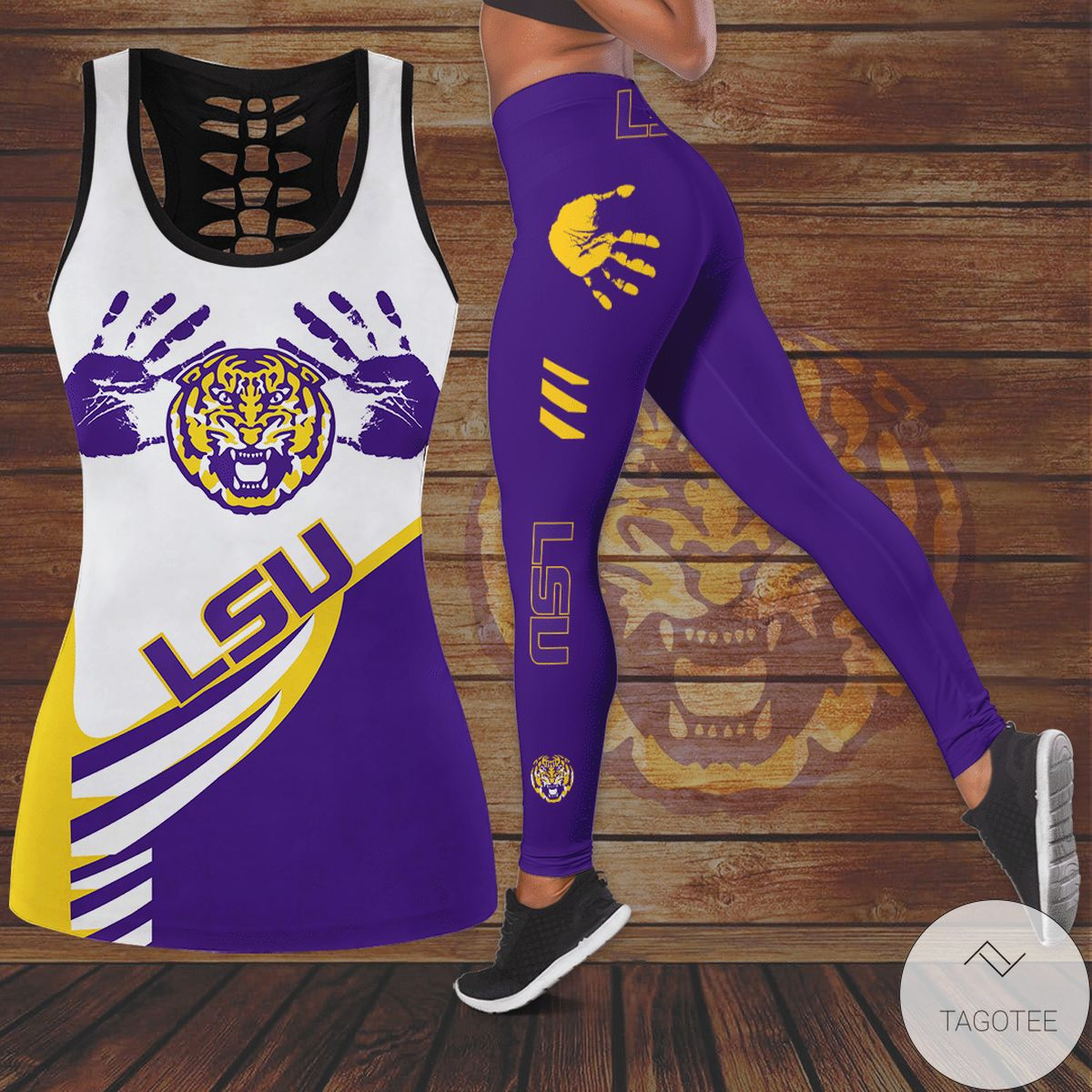 Adult Lsu Tigers Hollow Tank Top And Leggings