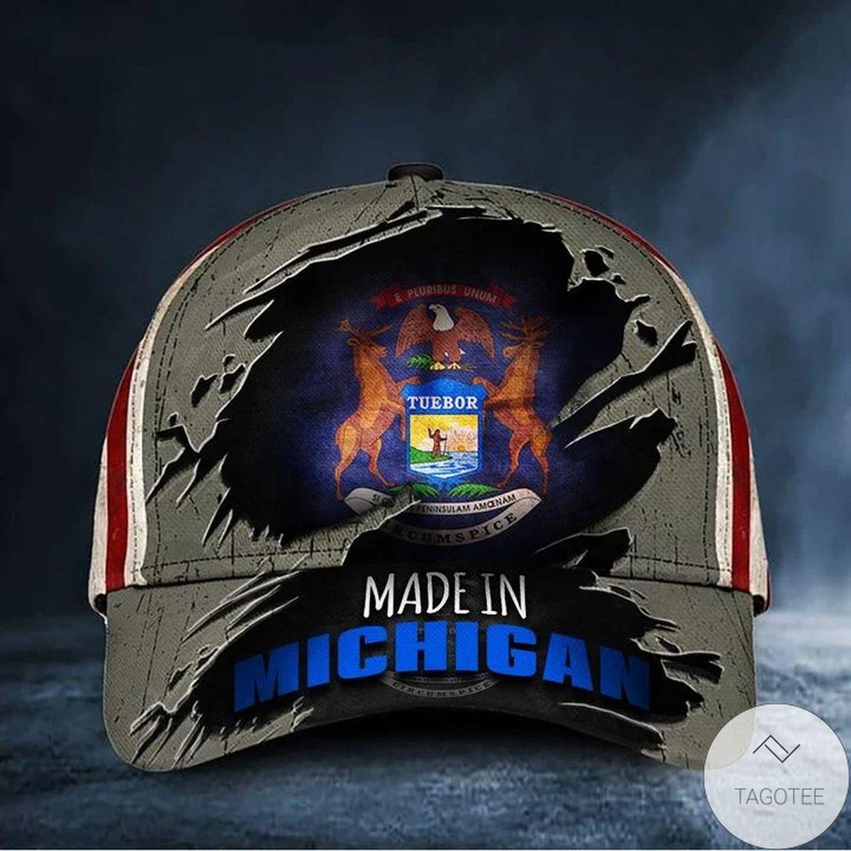Free Ship Made In Michigan Hat Patriotic American Flag Vintage Michigan State Baseball Hat Merch