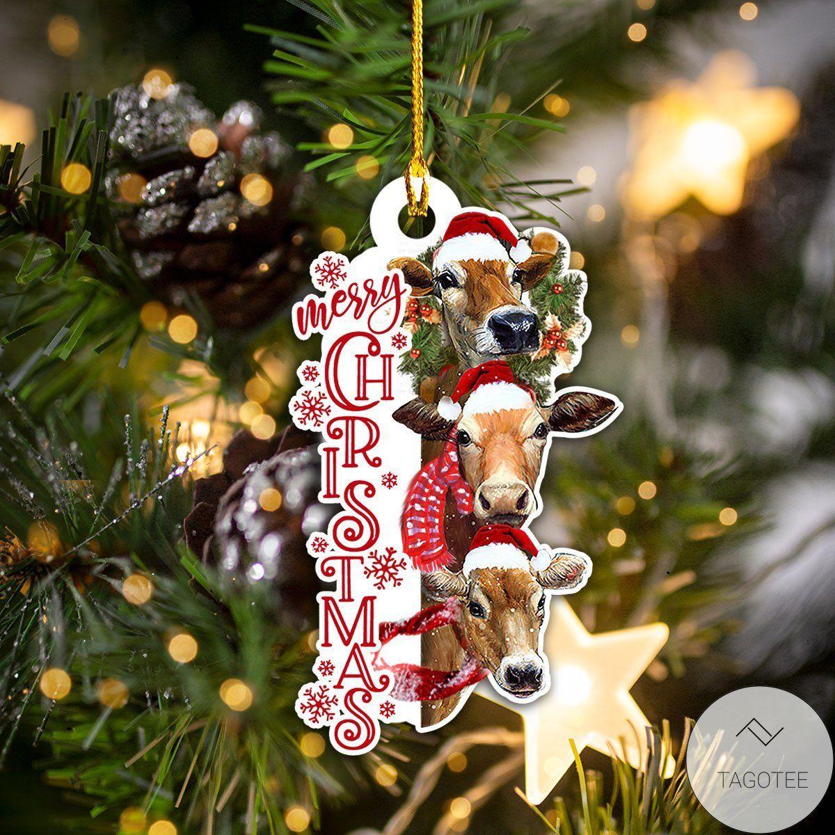 Hot Deal Merry Christmas Cow Shape Ornament