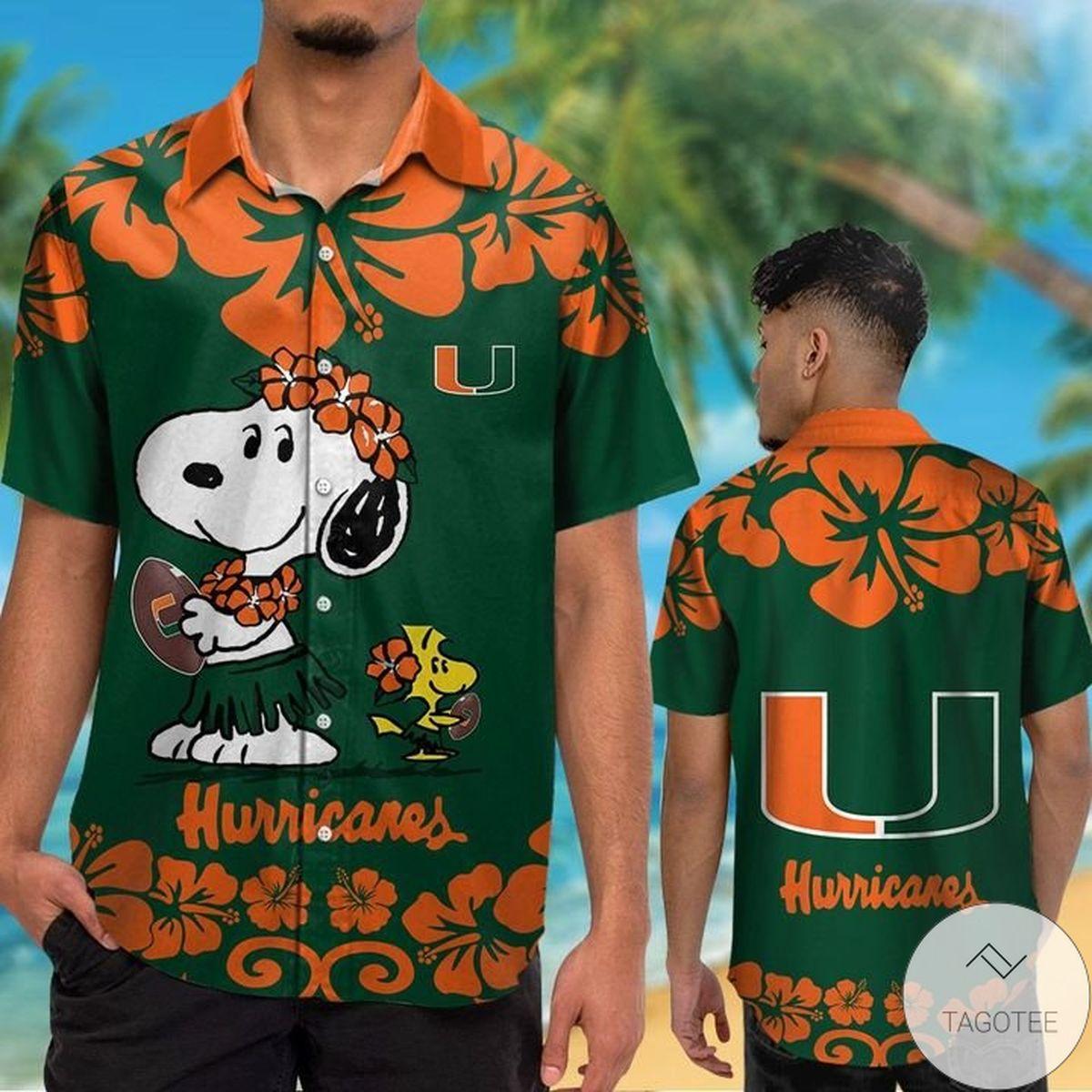 Miami Hurricanes & Snoopy Hawaiian Shirt