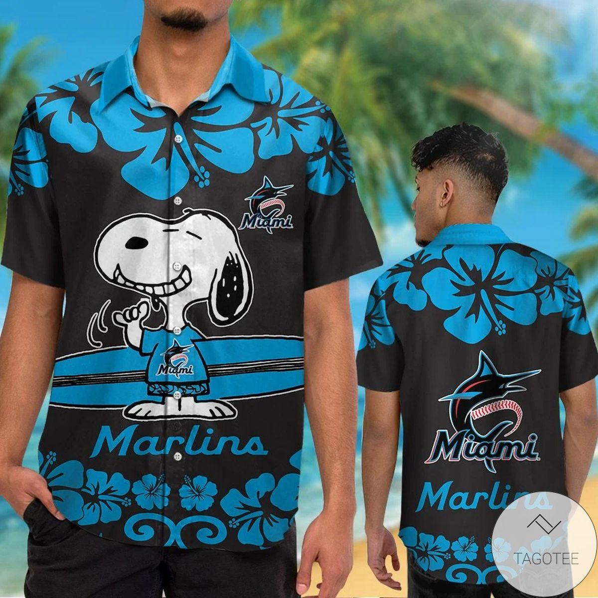 Miami Marlins Snoopy Hawaiian Shirt