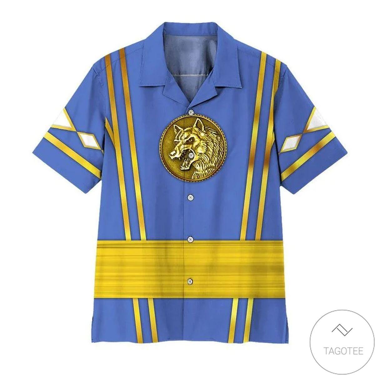 Us Store Mighty Morphin Power Rangers Ninja Rangers Blue Wolf Hawaiian Shirt