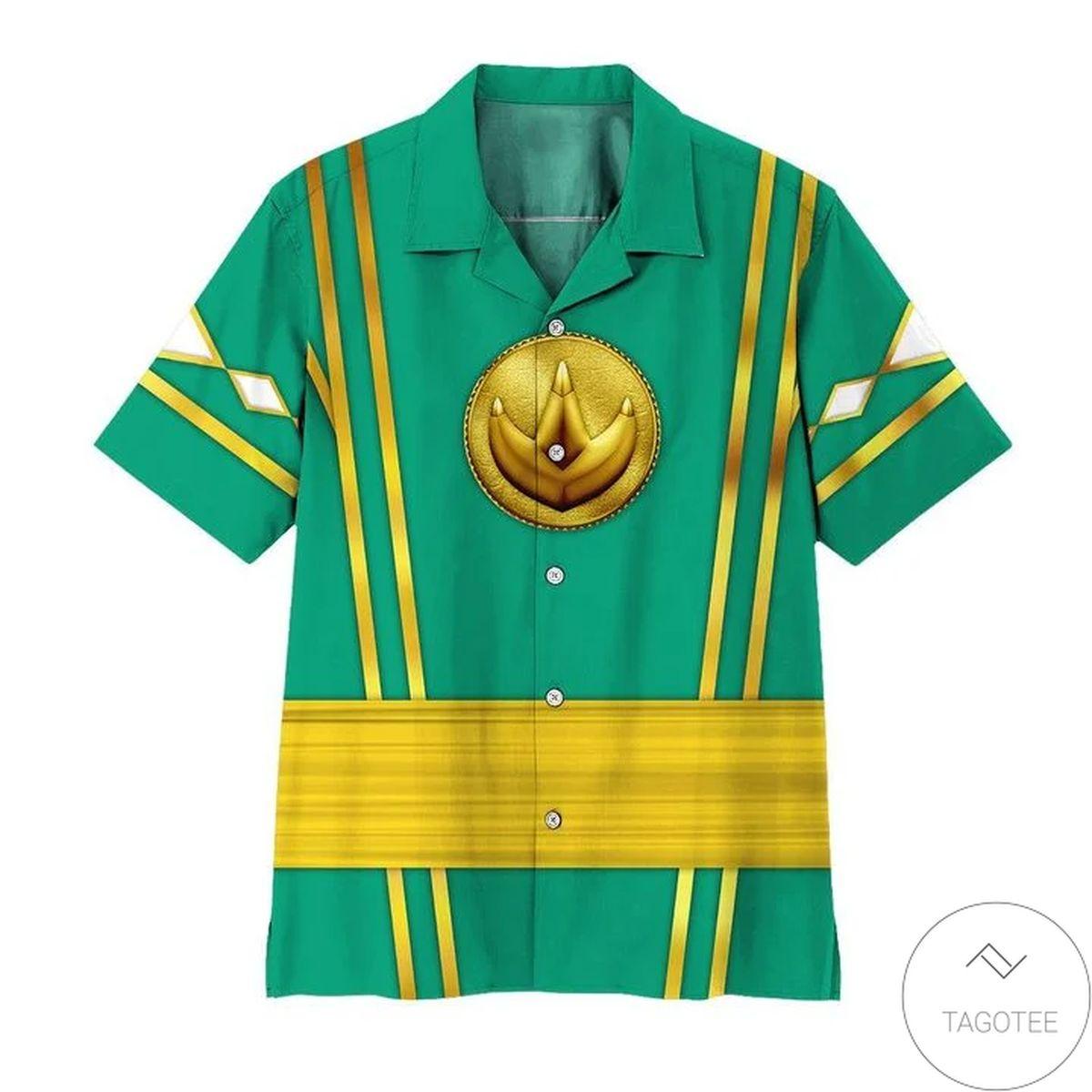 Mighty Morphin Power Rangers Ninja Rangers Green The Dragon Hawaiian Shirt