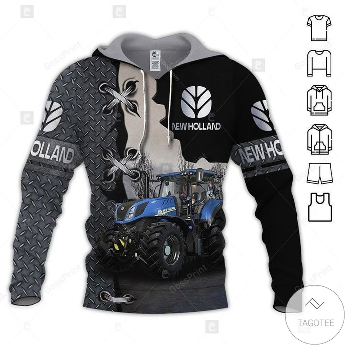 New Holland Agriculture Mechanic Tractor 3d Hoodie
