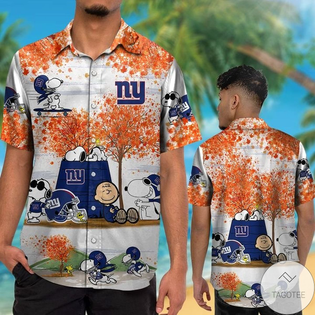 New York Giants Snoopy Autumn Hawaiian Shirt