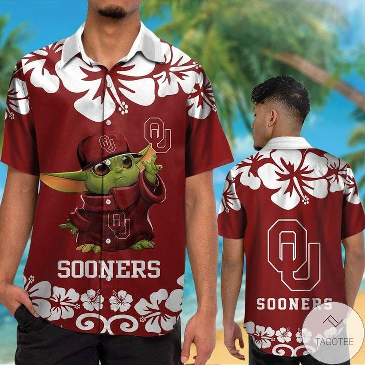 Oklahoma Sooners Baby Yoda Hawaiian Shirt