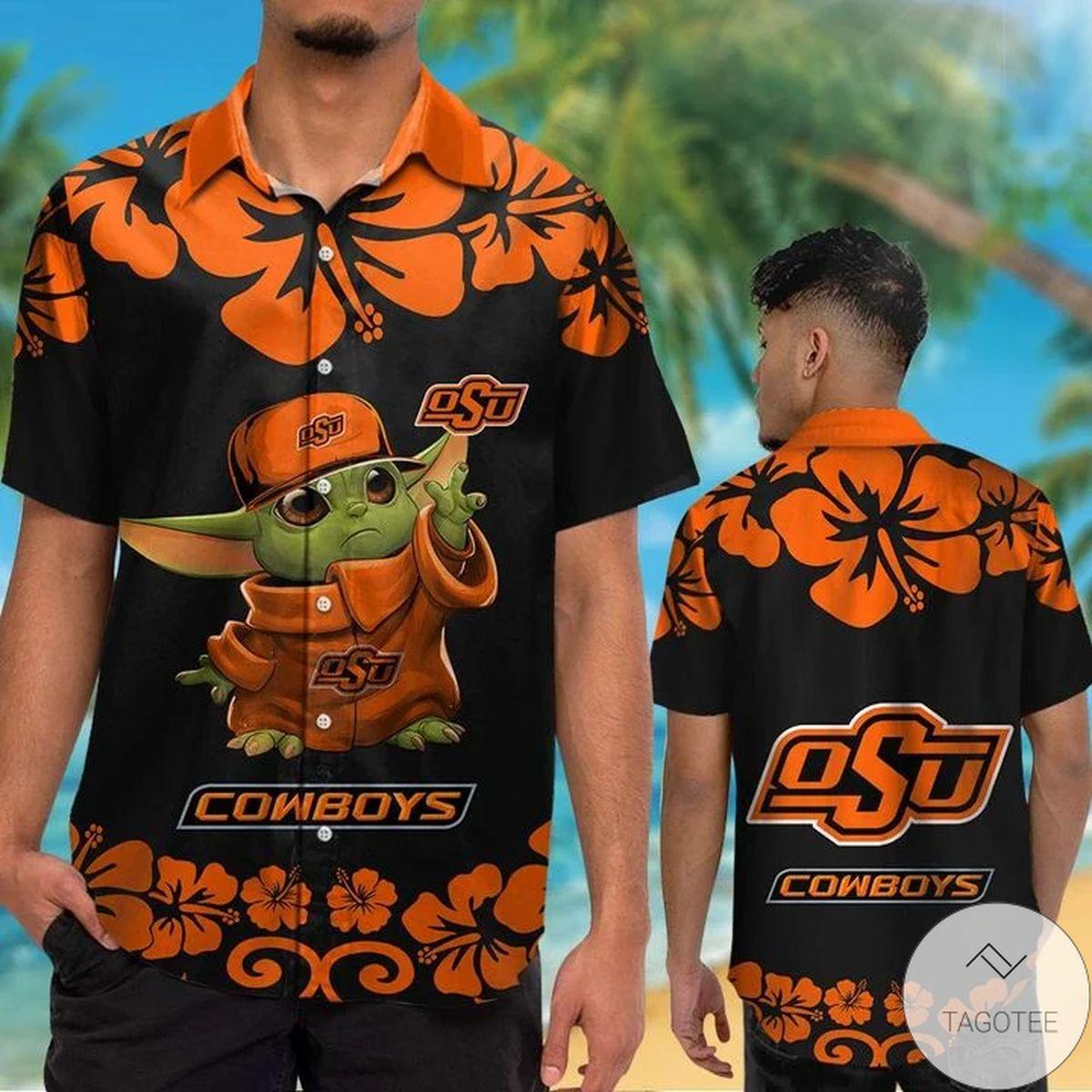 Oklahoma State Cowboys Baby Yoda Hawaiian Shirt