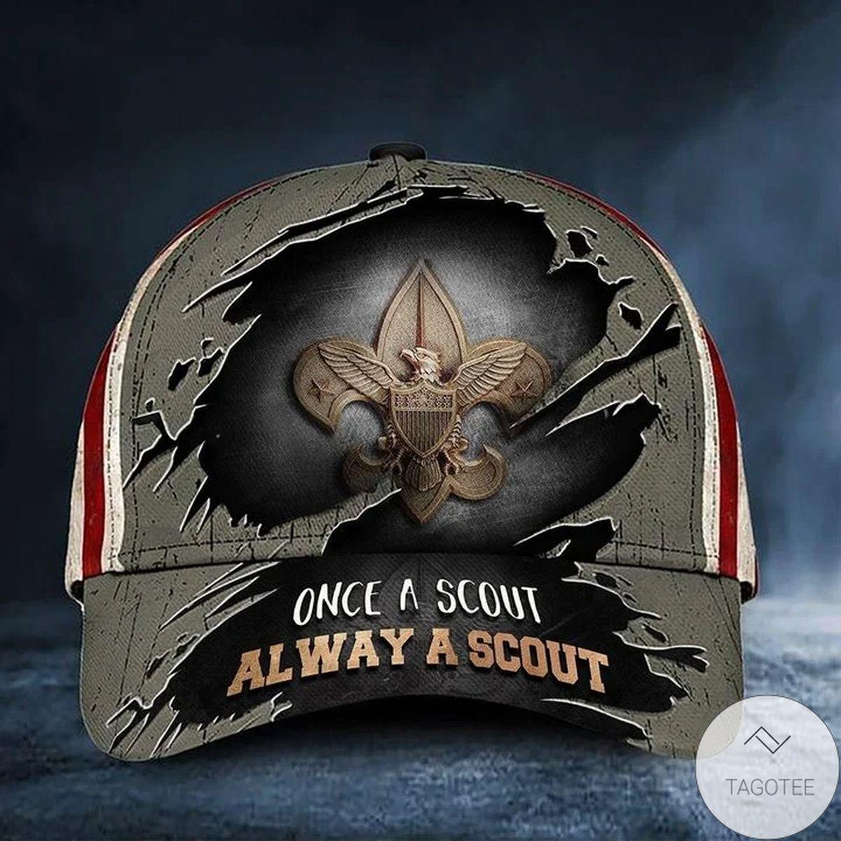 Once A Scout Always A Scout Cap US Flag Vintage Hat Proud Eagle Scout Gift Ideas