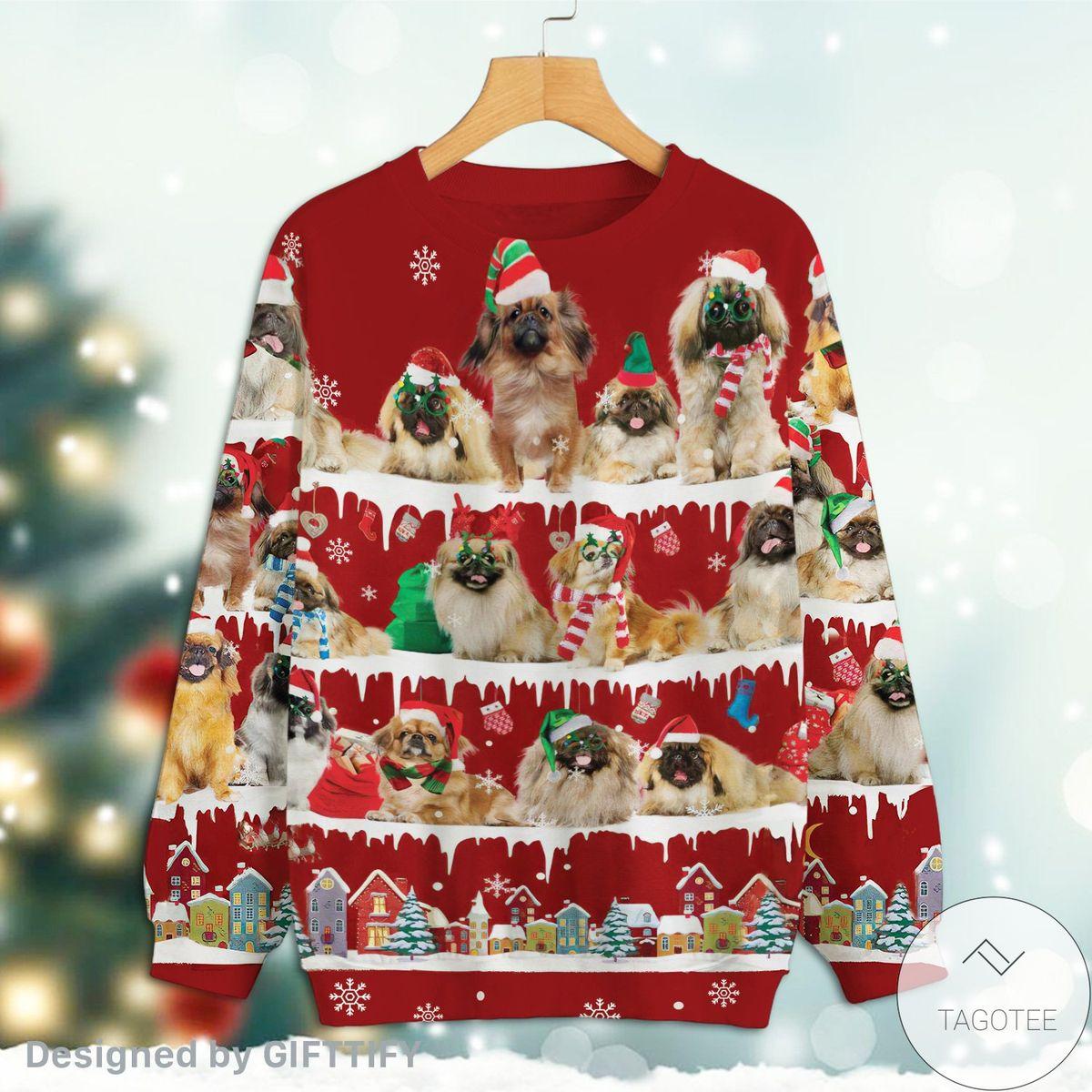 Pekingese Snow Christmas Premium Sweatshirt