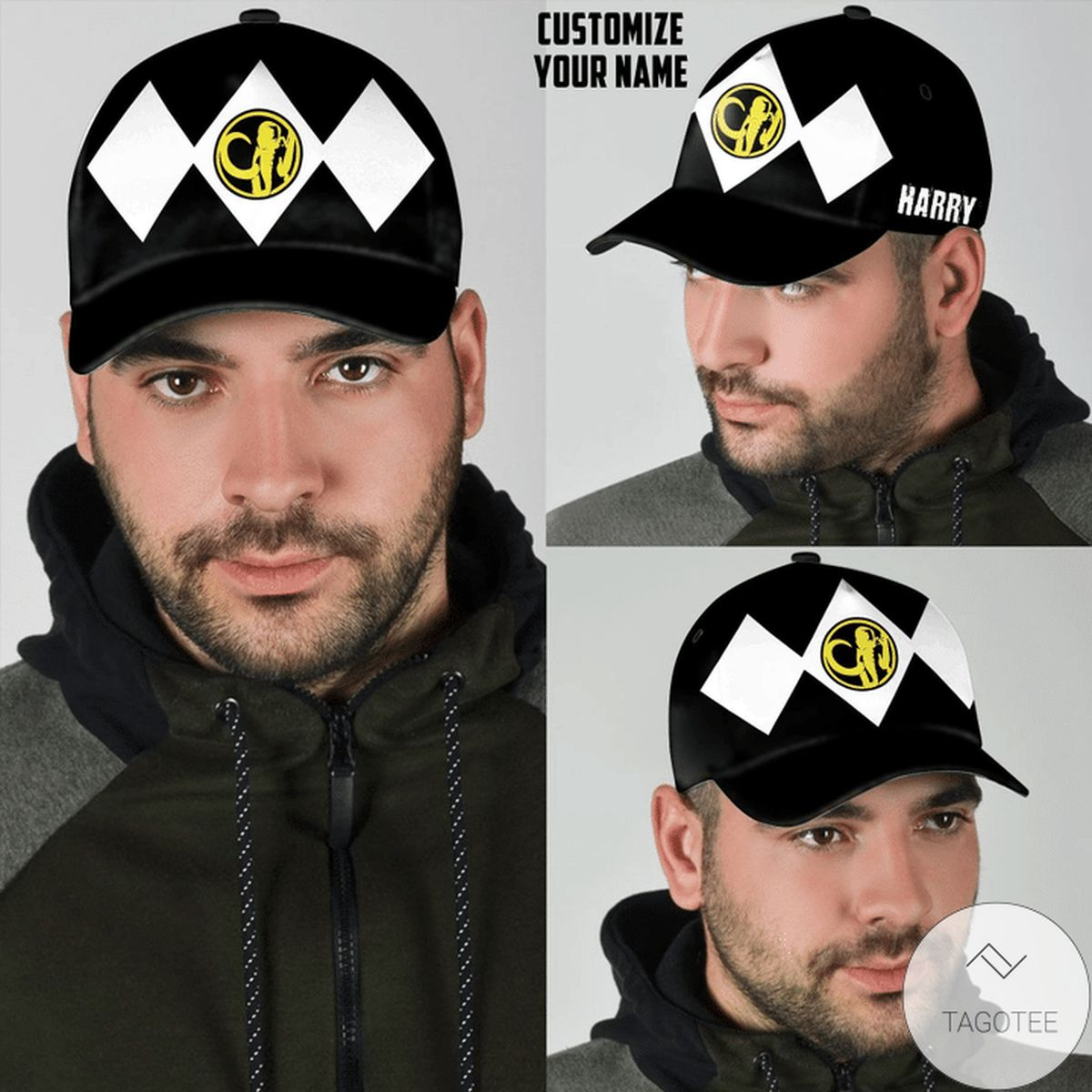 Personalized Black Mighty Morphin Power Rangers Cap