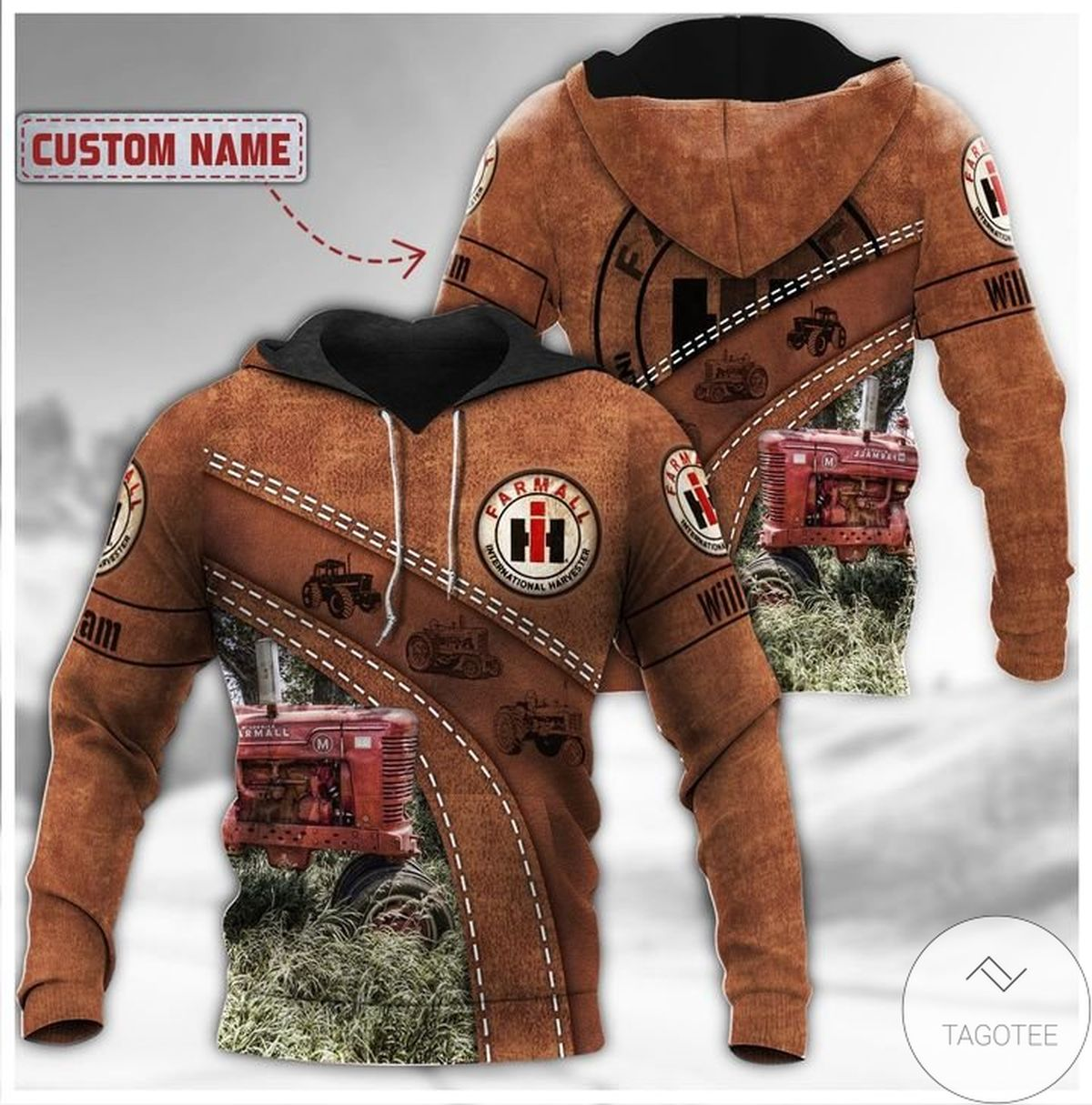 Perfect Personalized Farmall Ih Leather 3d Hoodie
