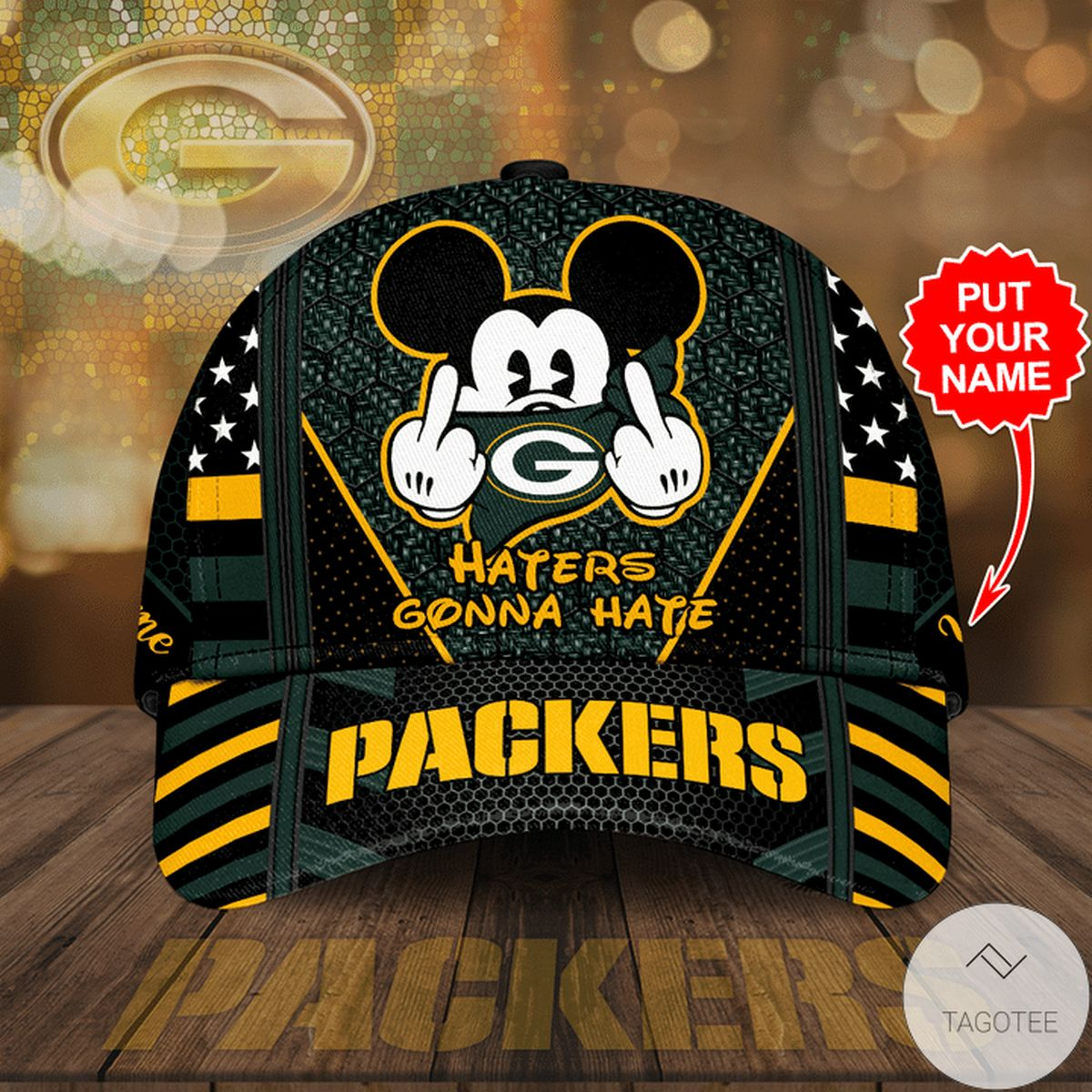 Personalized Haters Gonna Hate Green Bay Packers Mickey Mouse Cap