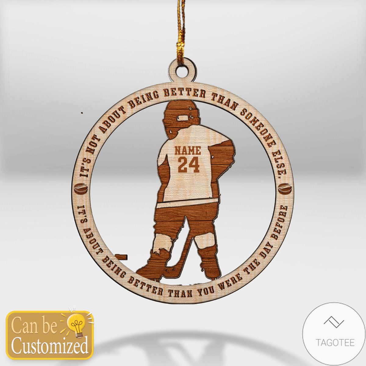 Personalized Ice Hockey It's Not About Being Better Than Someone Else Ornament