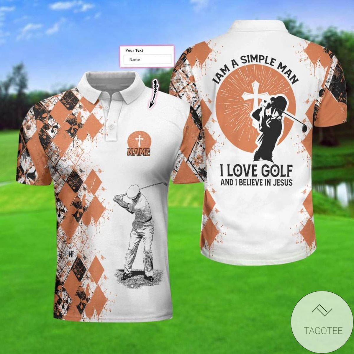 Personalized I'm A Simple Man I Love Golf And I Believe In Jesus Polo Shirt