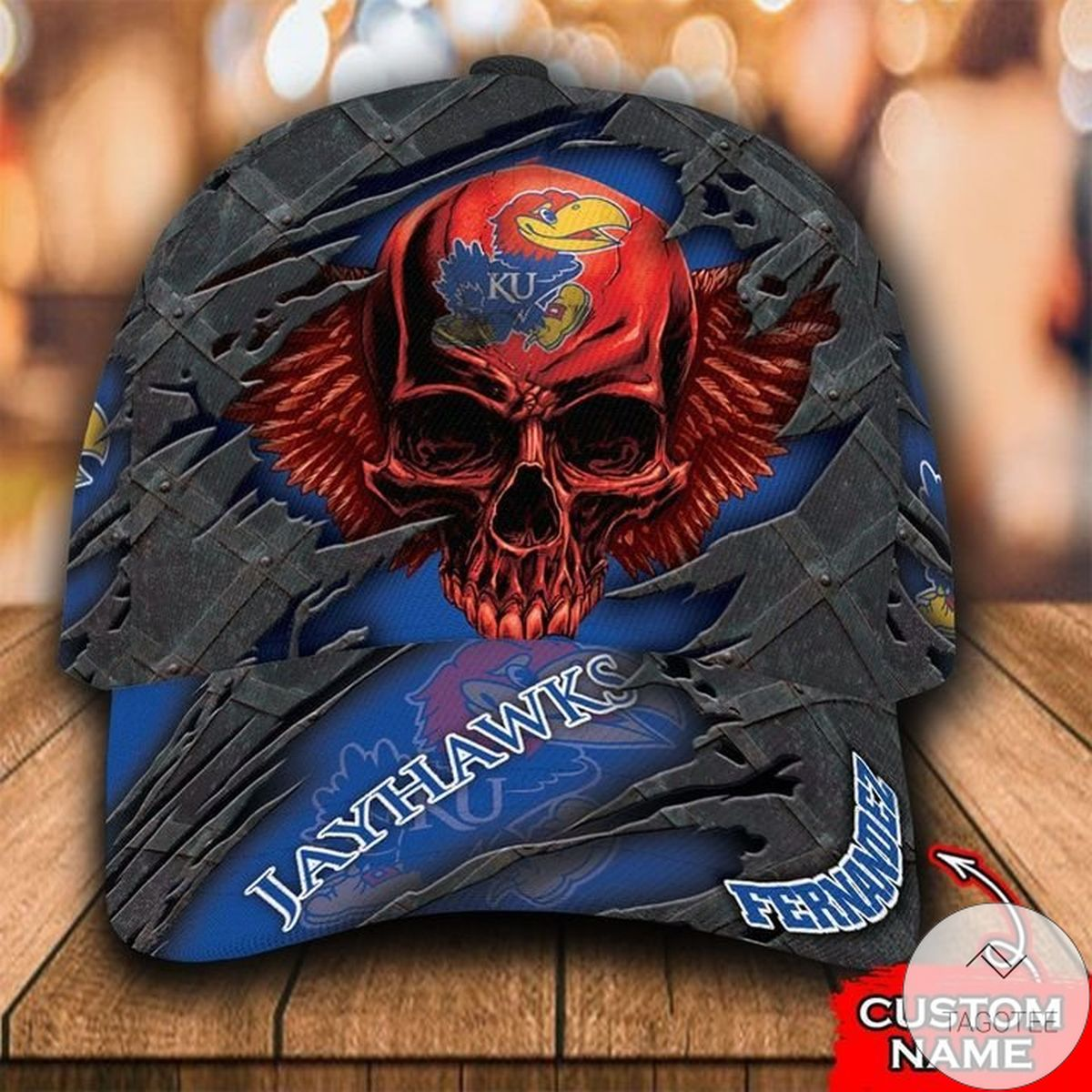 Personalized NCAA Kansas Jayhawks 3D Skull Cap