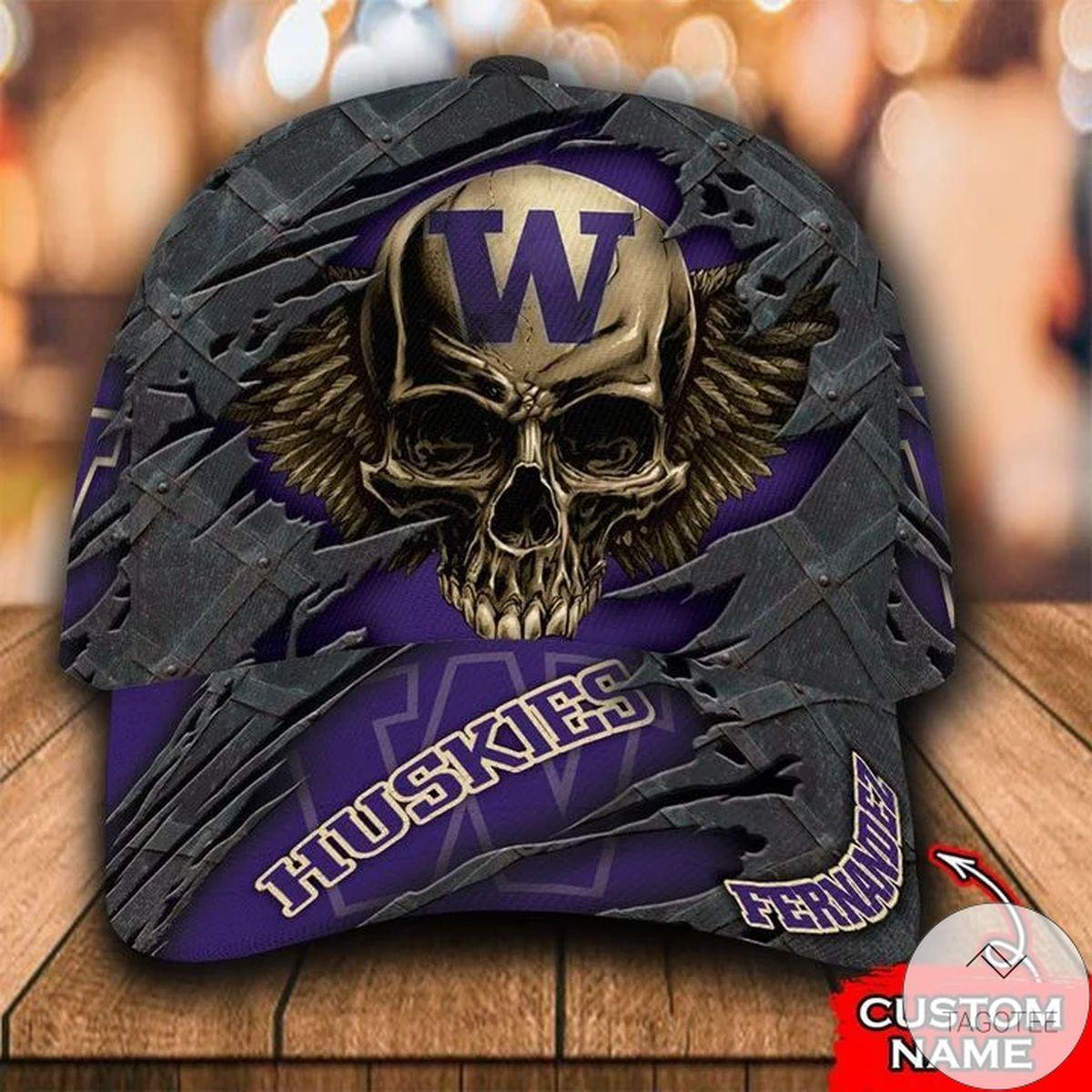 Personalized NCAA Washington Huskies 3D Skull Cap Classic