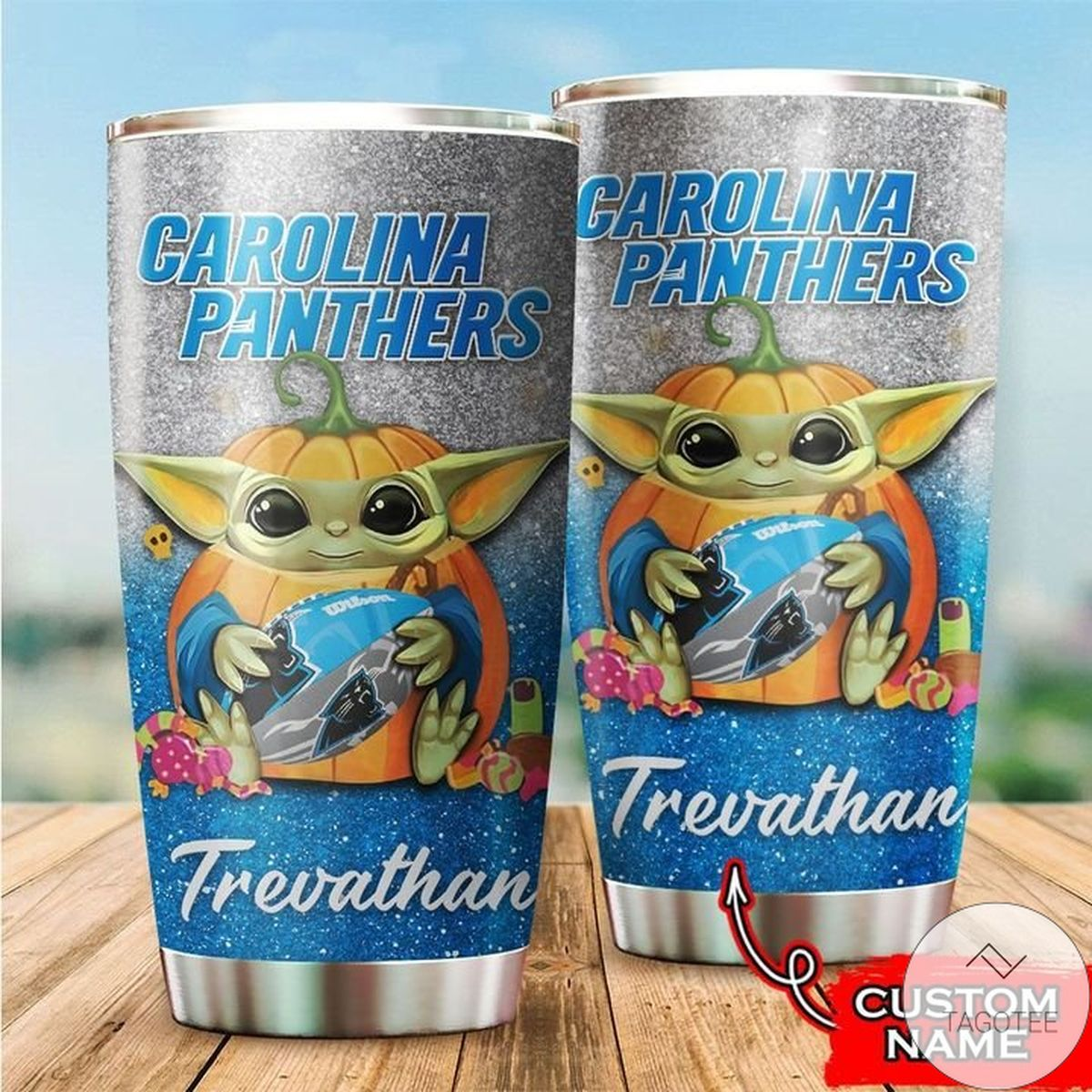 Personalized NFL Carolina Panthers Baby Yoda Tumbler Cup Custom name