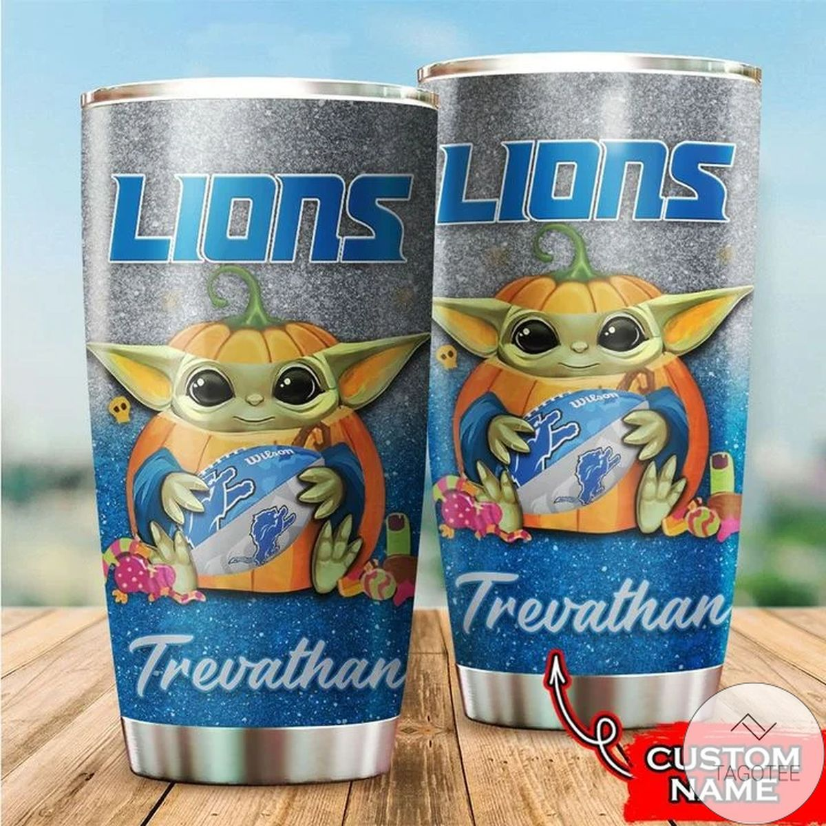 Personalized NFL Detroit Lions Baby Yoda Tumbler Cup Custom name