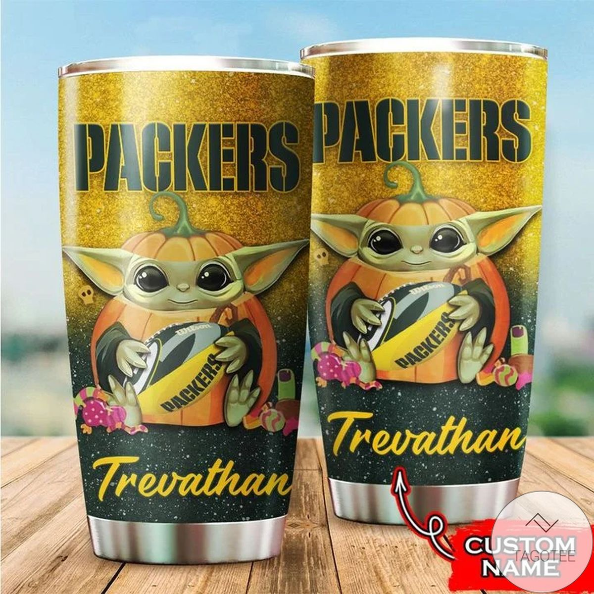 Personalized NFL Green Bay Packers Baby Yoda Tumbler Cup Custom name