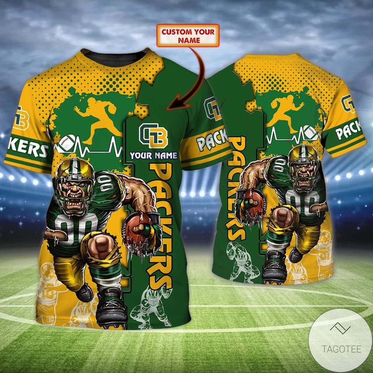 Great Personalized Name Green Bay Packers All Over Print T-Shirt