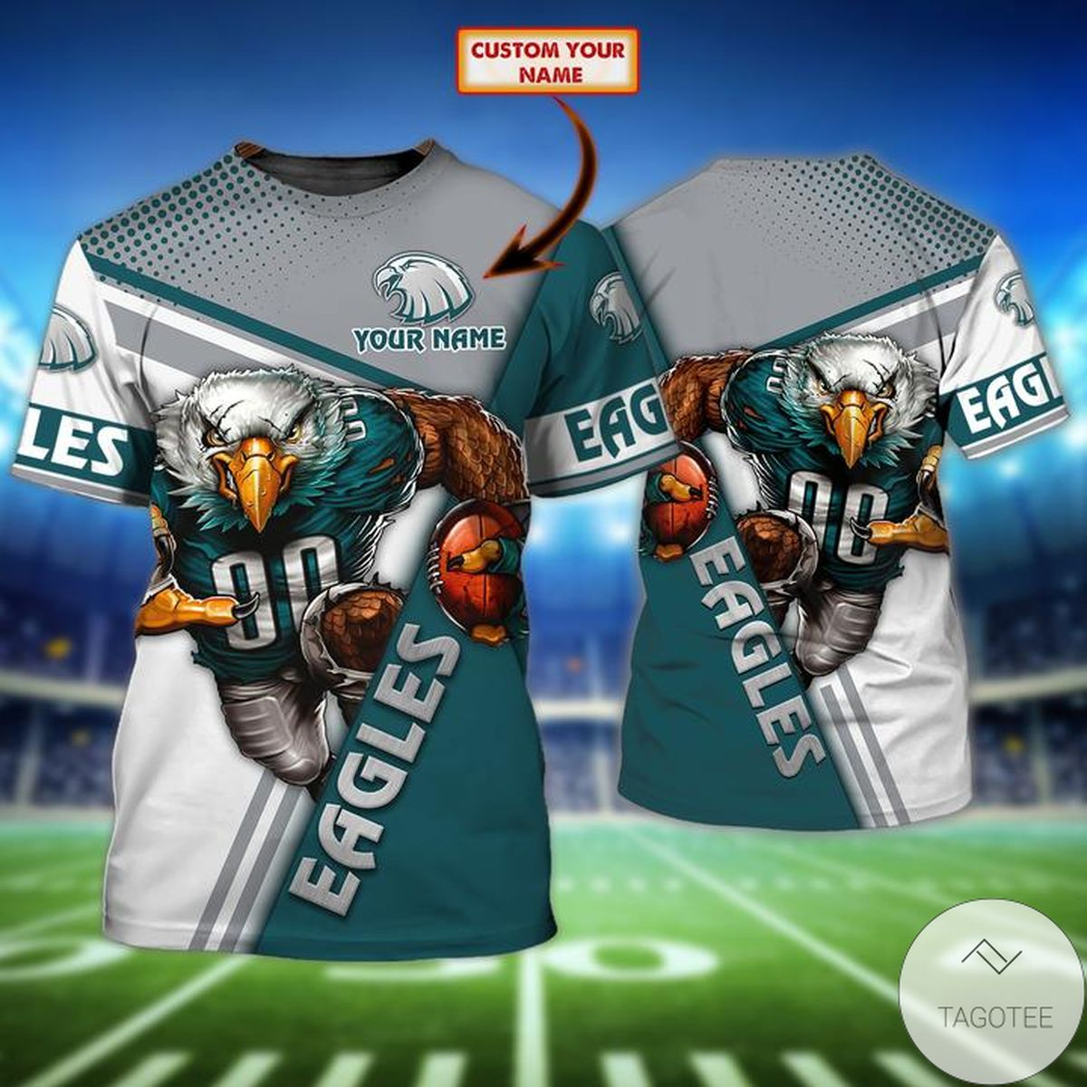 Sale Off Personalized Name Philadelphia Eagles All Over Print T-Shirt