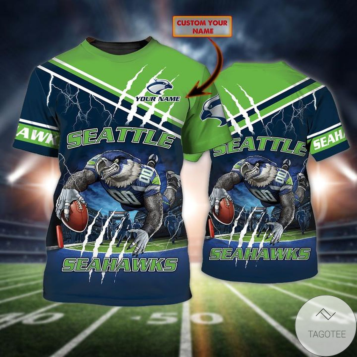 Great artwork! Personalized Name Seattle Seahawks All Over Print T-Shirt