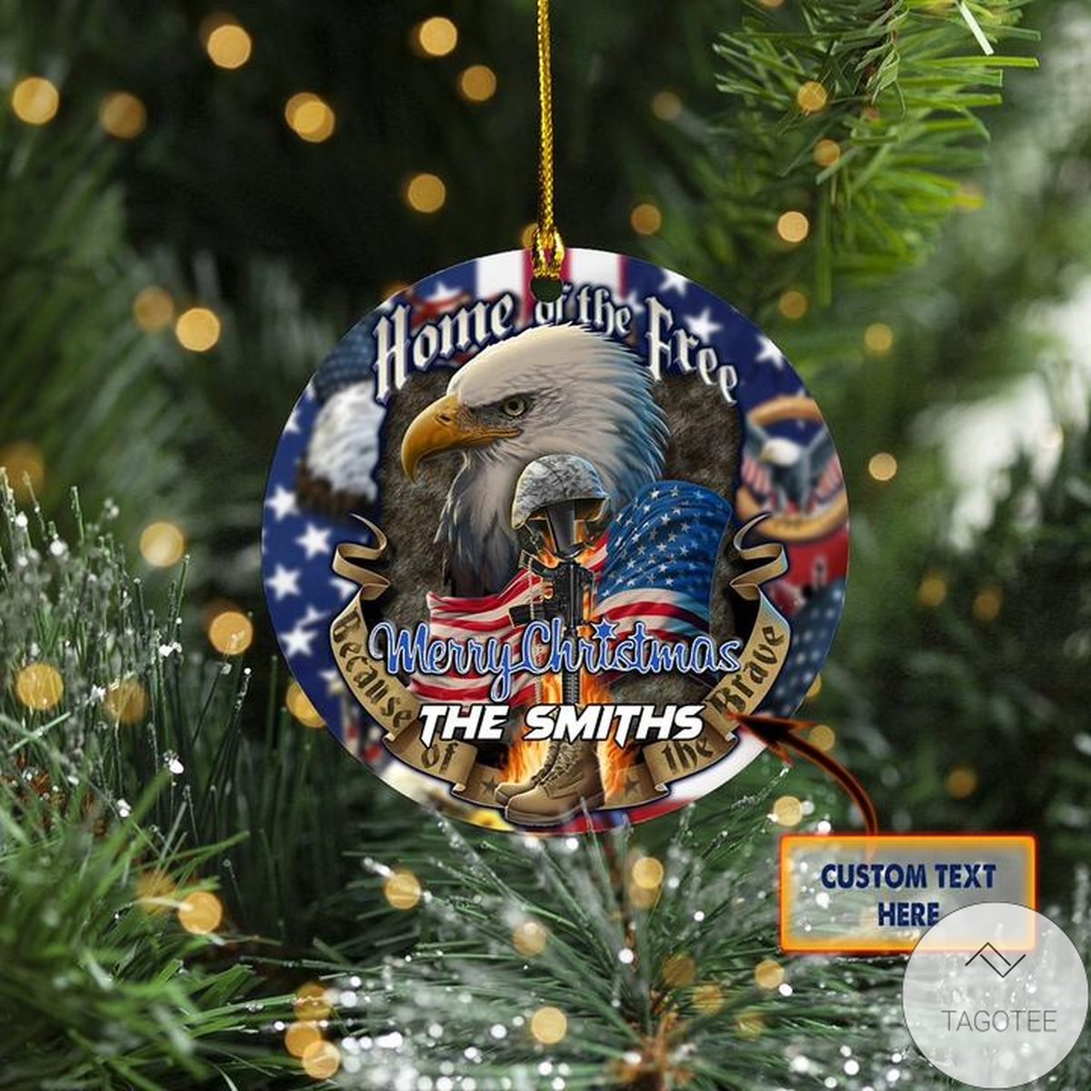 Personalized Patriotism Home Of The Free Because Of The Brave Christmas Ornament
